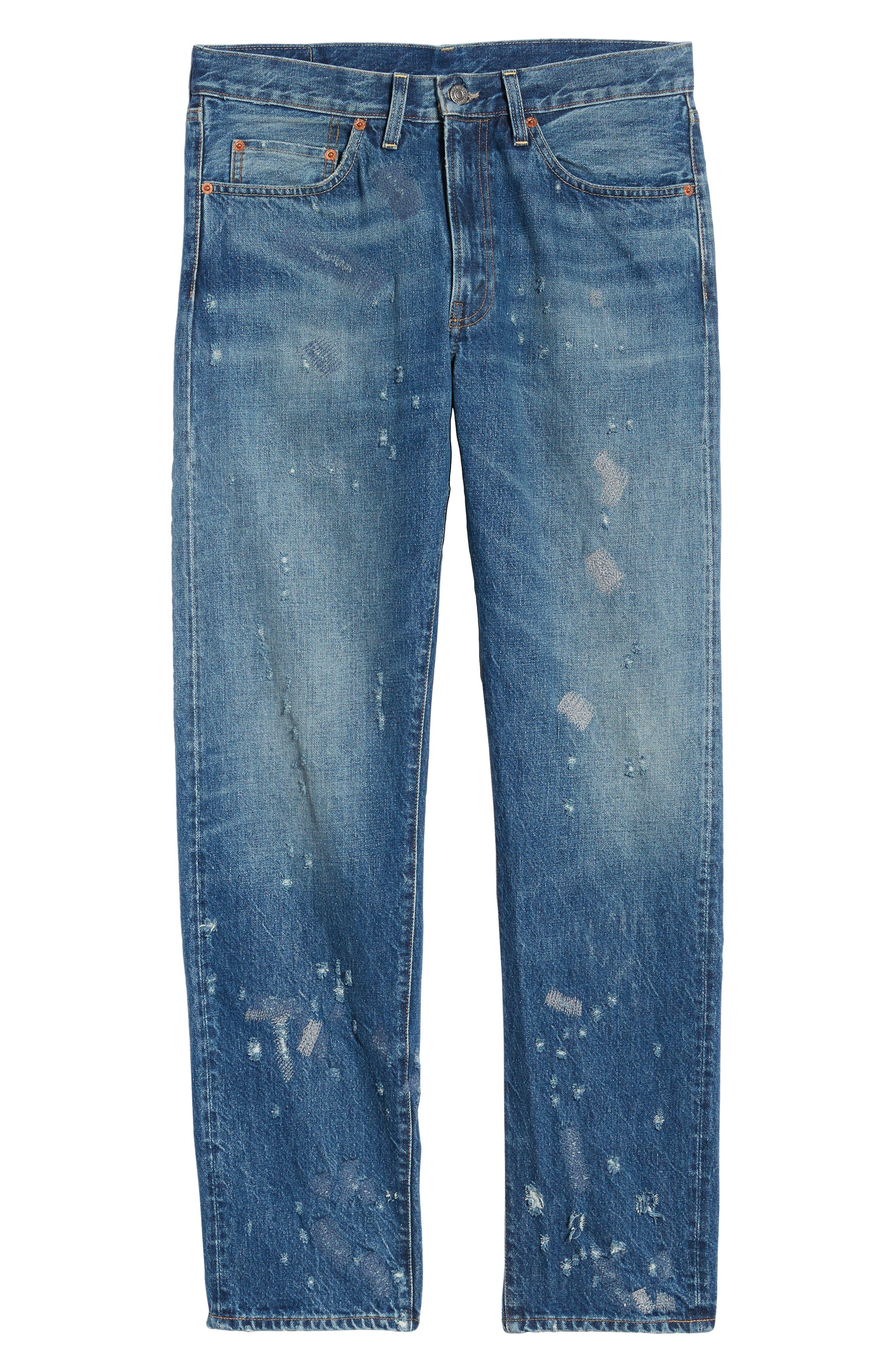 LEVI'S<SUP>®</SUP> VINTAGE CLOTHING, 1954 501<sup>®</sup> Shrink To Fit Straight Leg Jeans, Alternate thumbnail 7, color, BLACKMON
