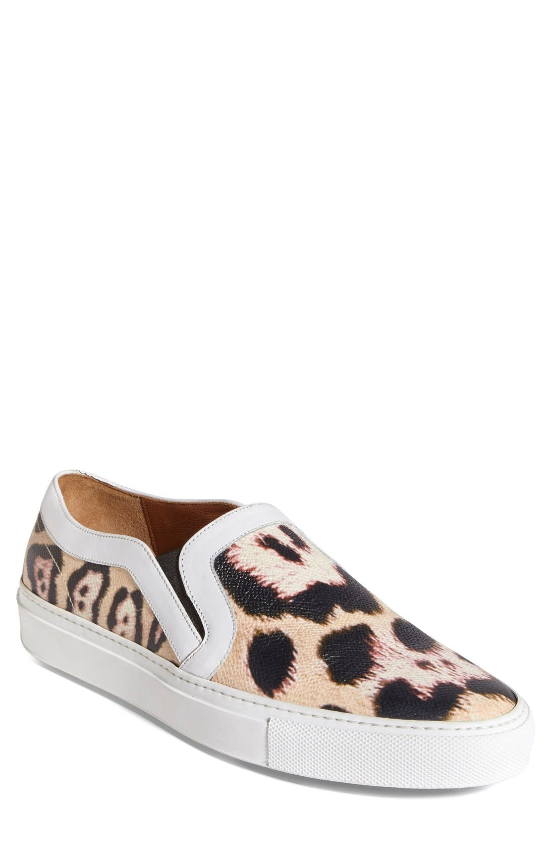 GIVENCHY, Leopard Print Skate Slip-On Sneaker, Main thumbnail 1, color, 200