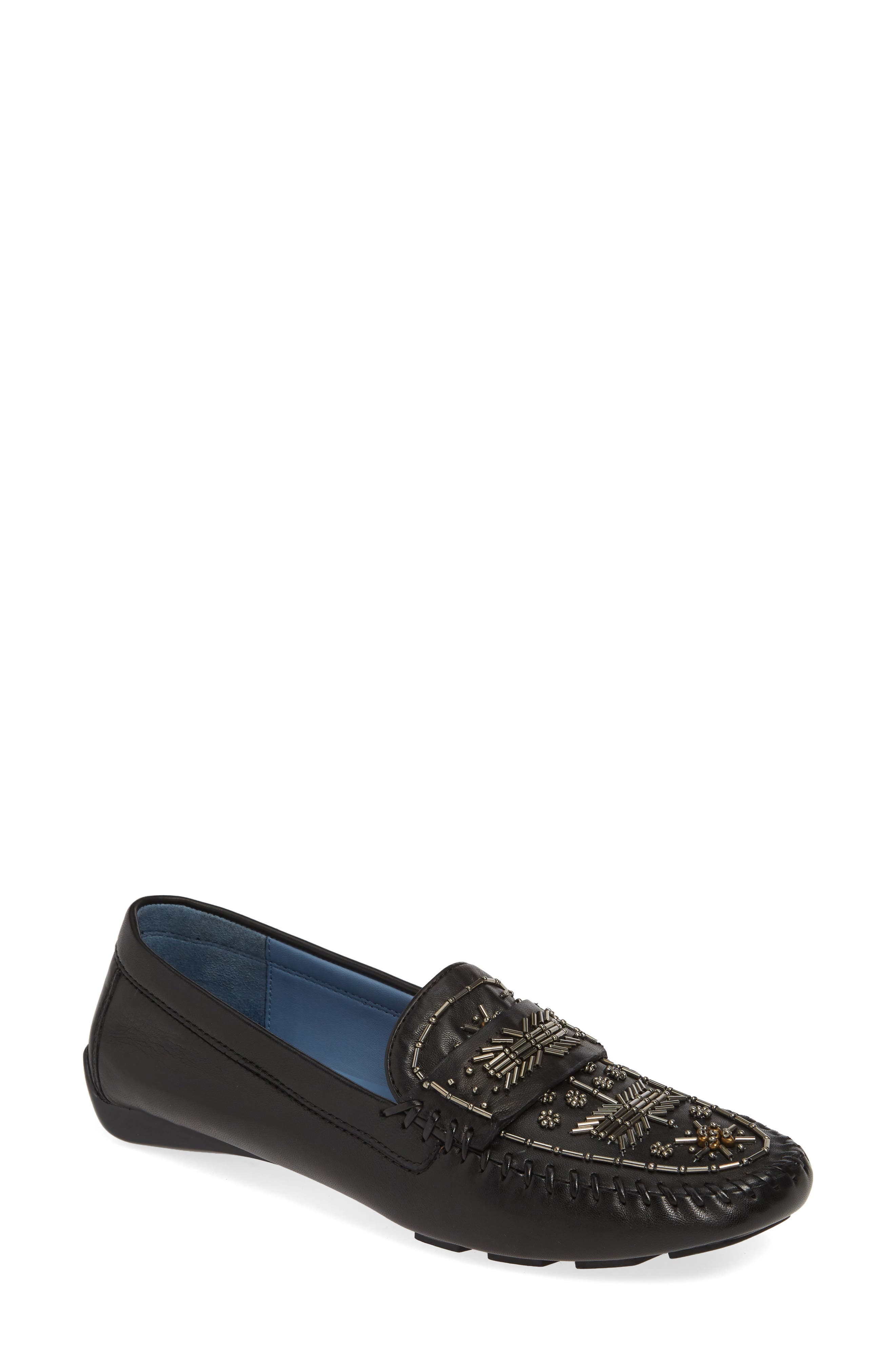 ROBERT ZUR, Majorca Embellished Loafer, Main thumbnail 1, color, BLACK TGLOVE