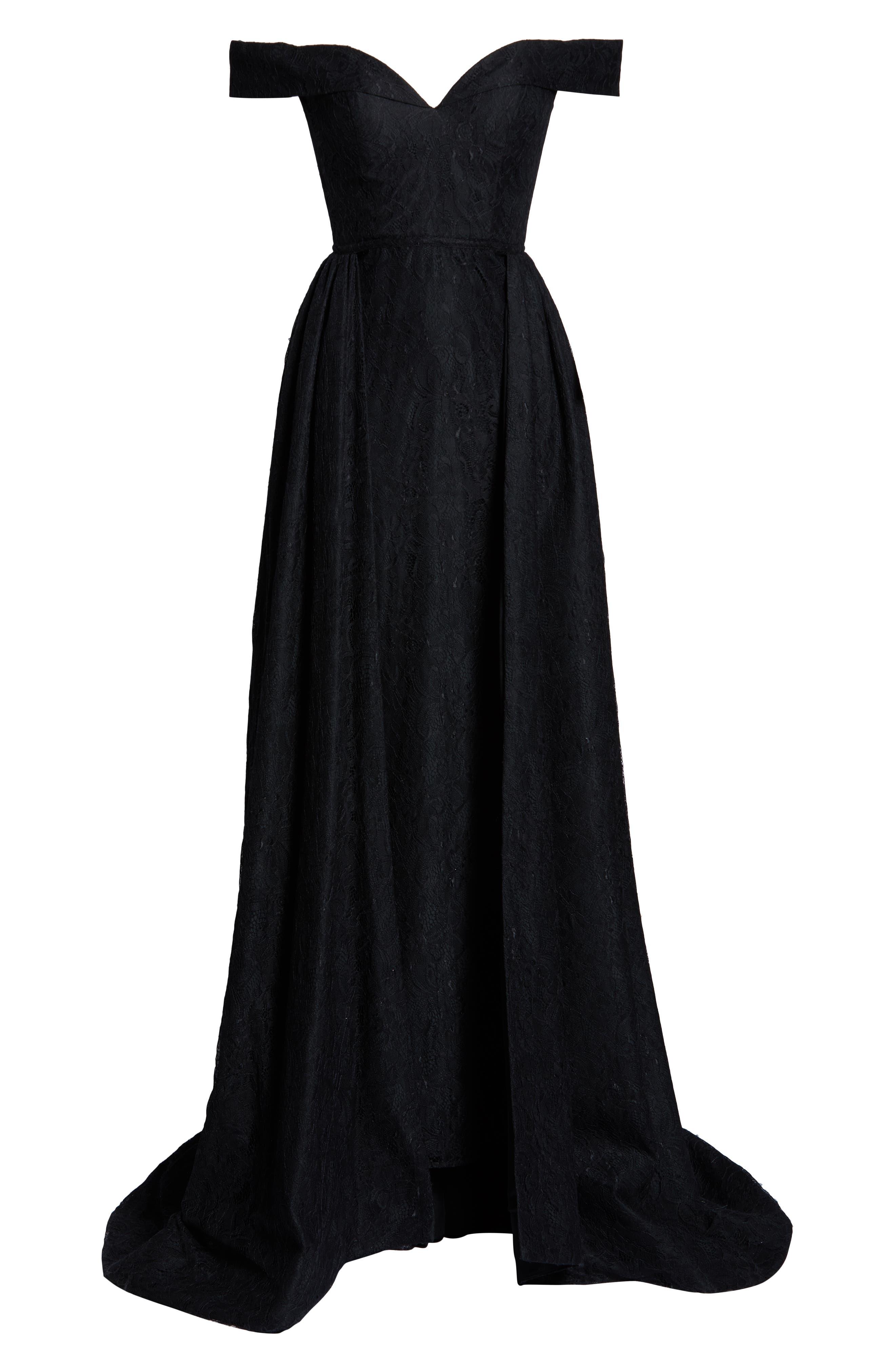 MAC DUGGAL, Off the Shoulder Lace Evening Dress, Alternate thumbnail 7, color, BLACK
