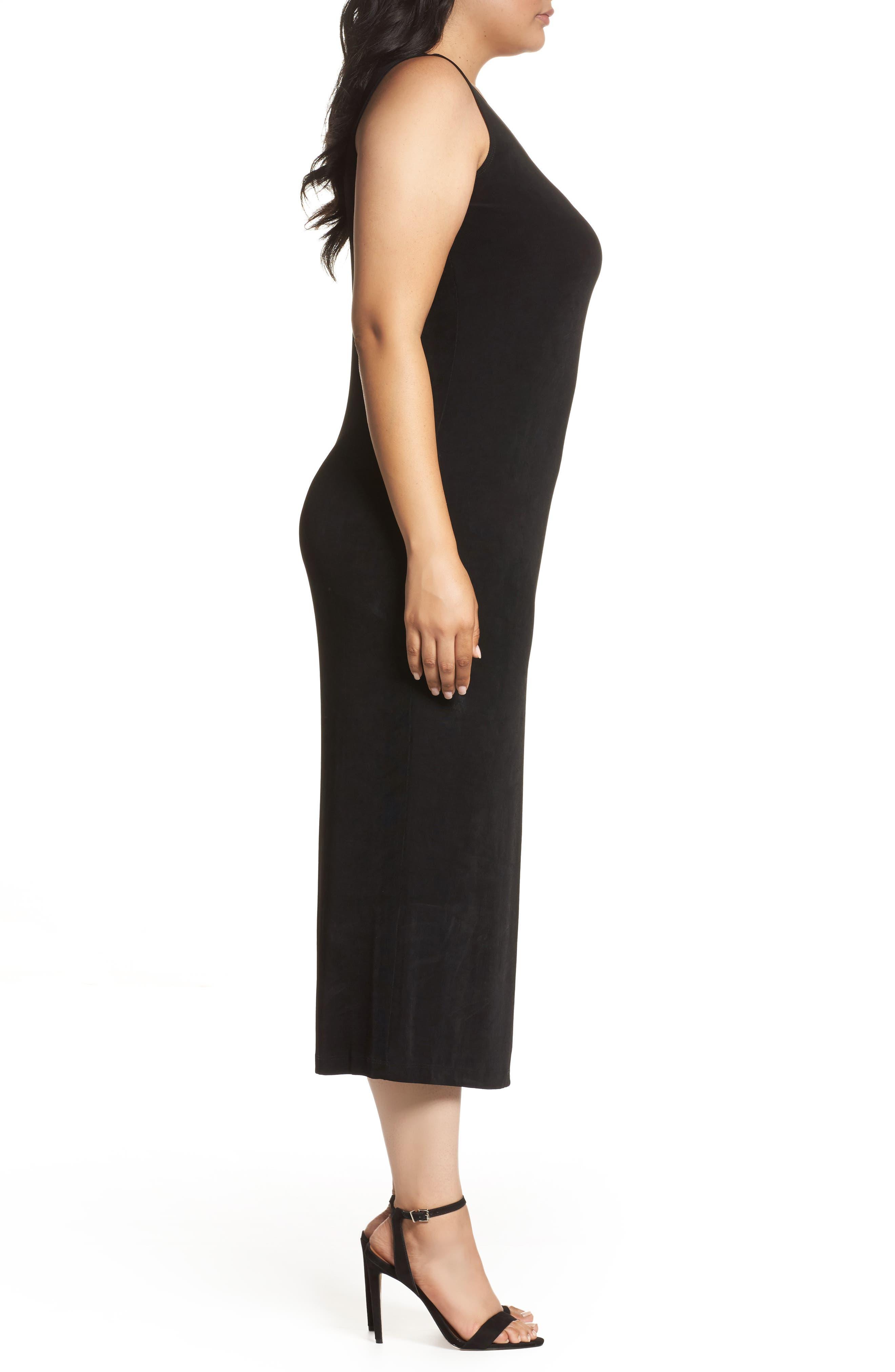 VIKKI VI, Sleeveless Maxi Tank Dress, Alternate thumbnail 3, color, BLACK