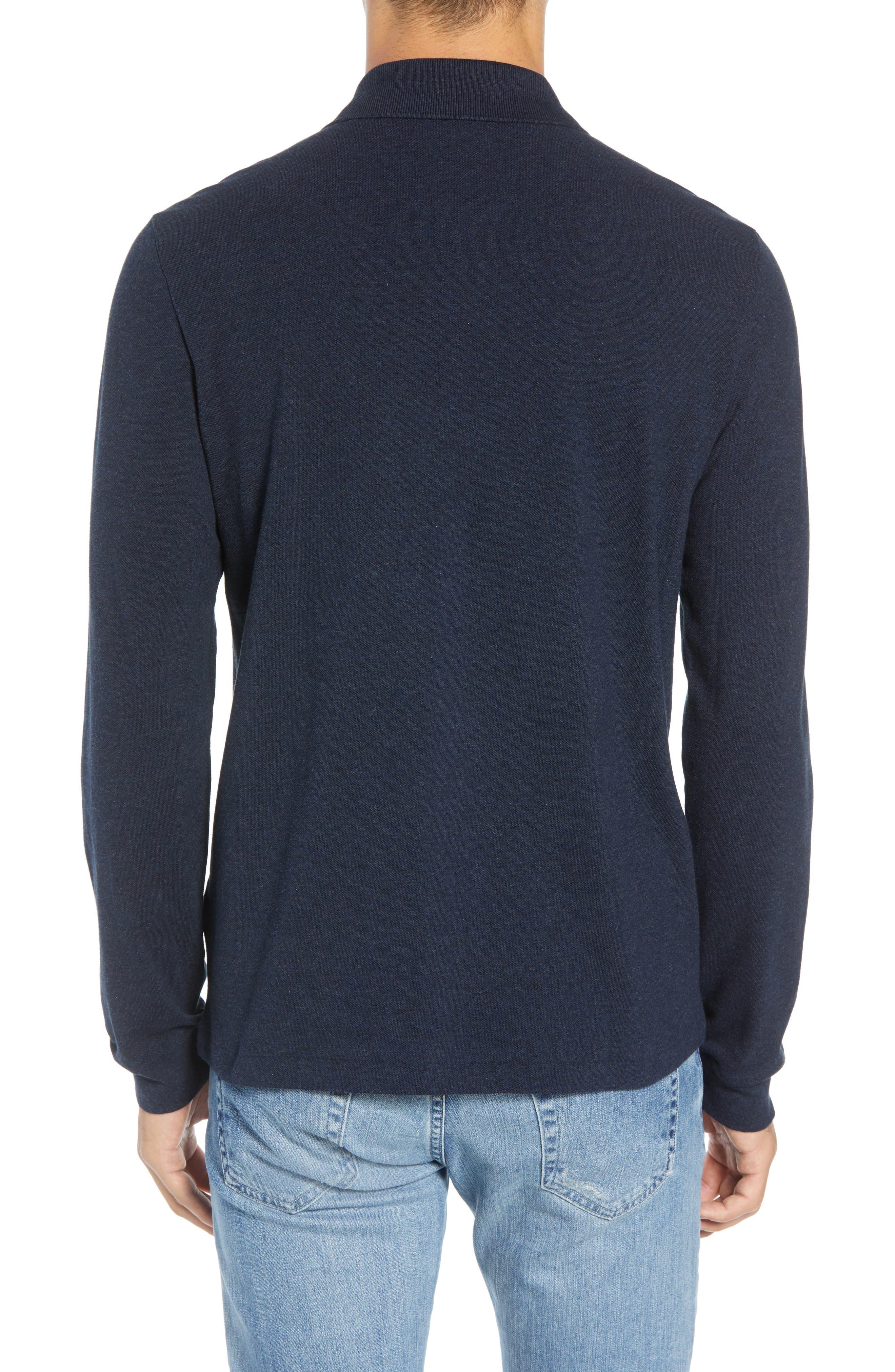 LACOSTE, Long Sleeve Piqué Polo, Alternate thumbnail 2, color, ECLIPSE BLUE CHINE