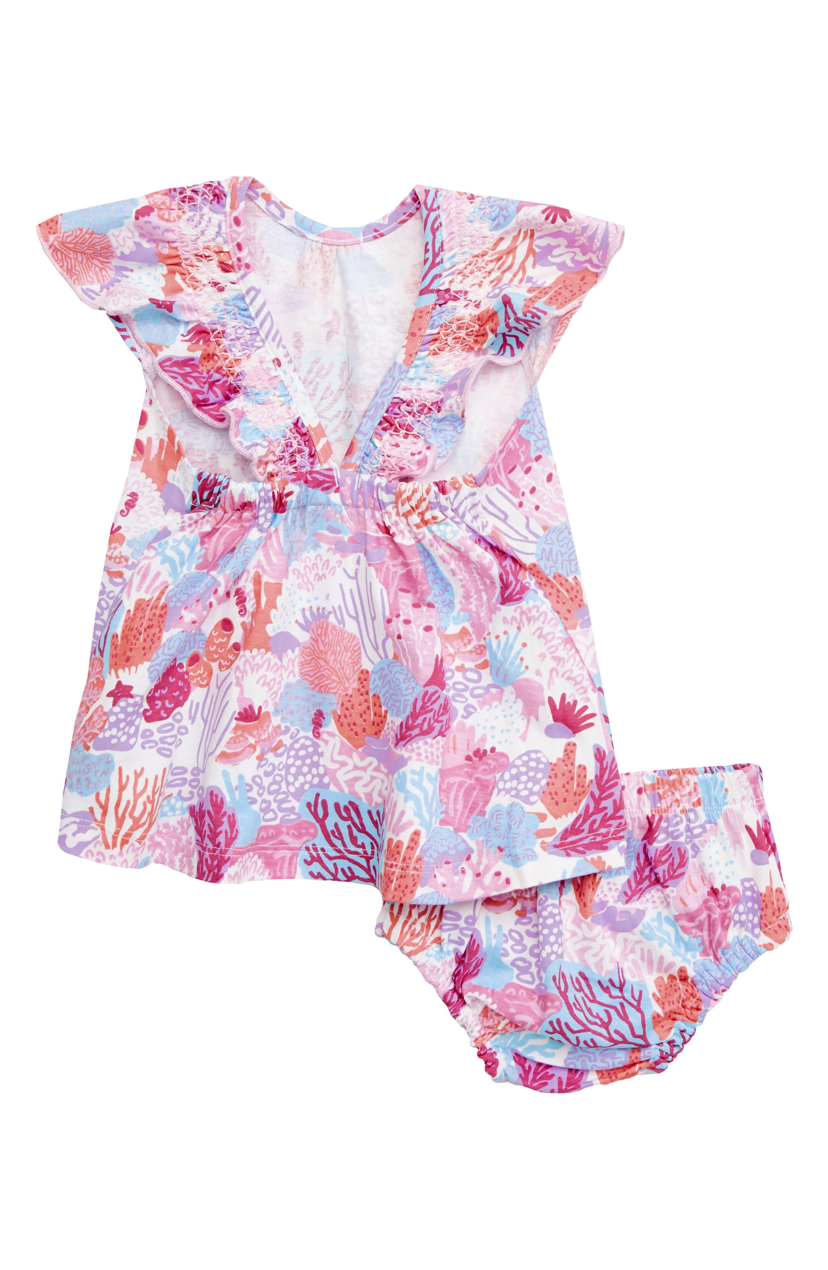 HATLEY, Island Reef Flutter Sleeve Dress, Alternate thumbnail 2, color, WHITE