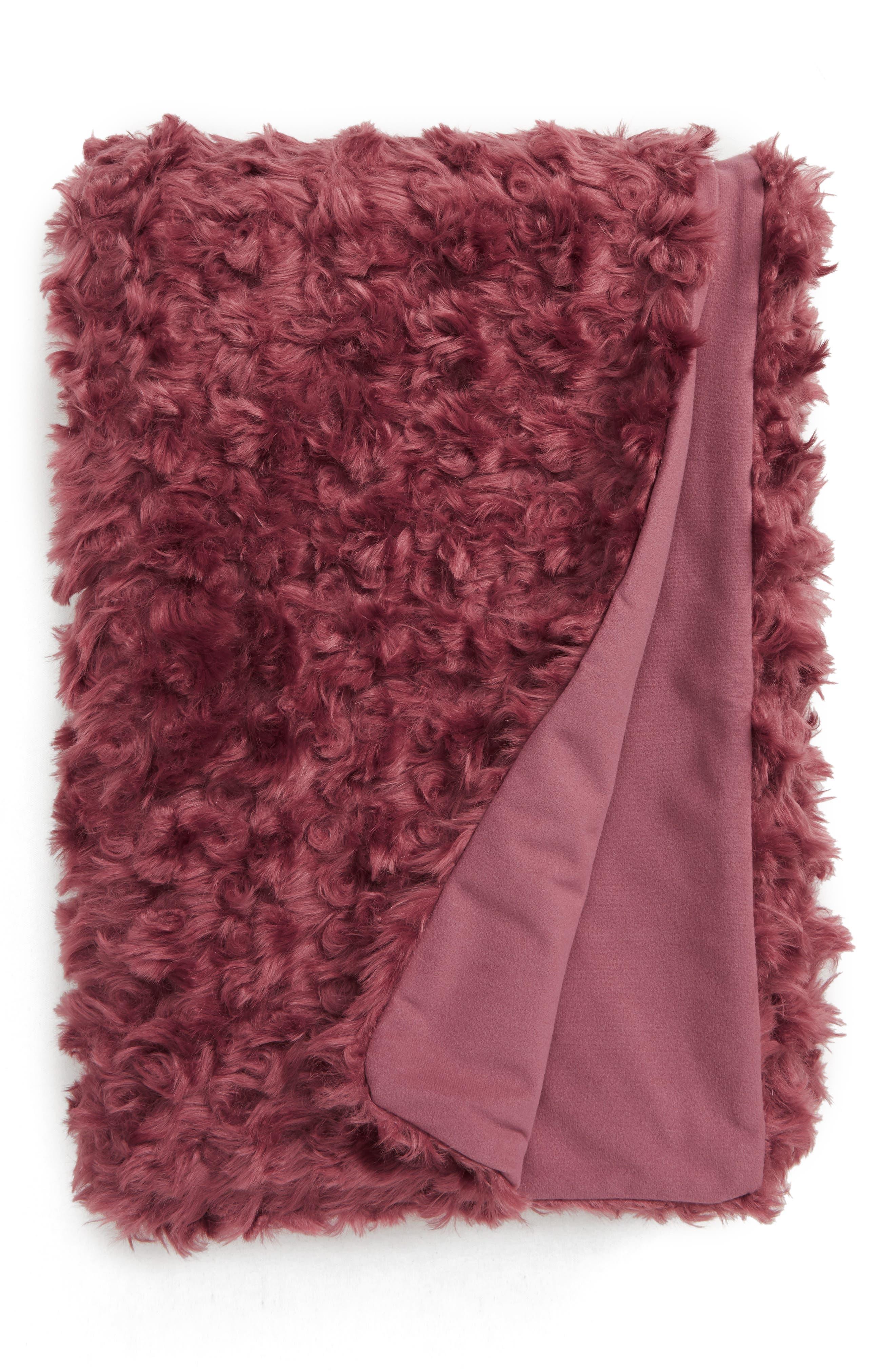 TREASURE & BOND, Curly Faux Fur Throw, Main thumbnail 1, color, BROWN ROSE