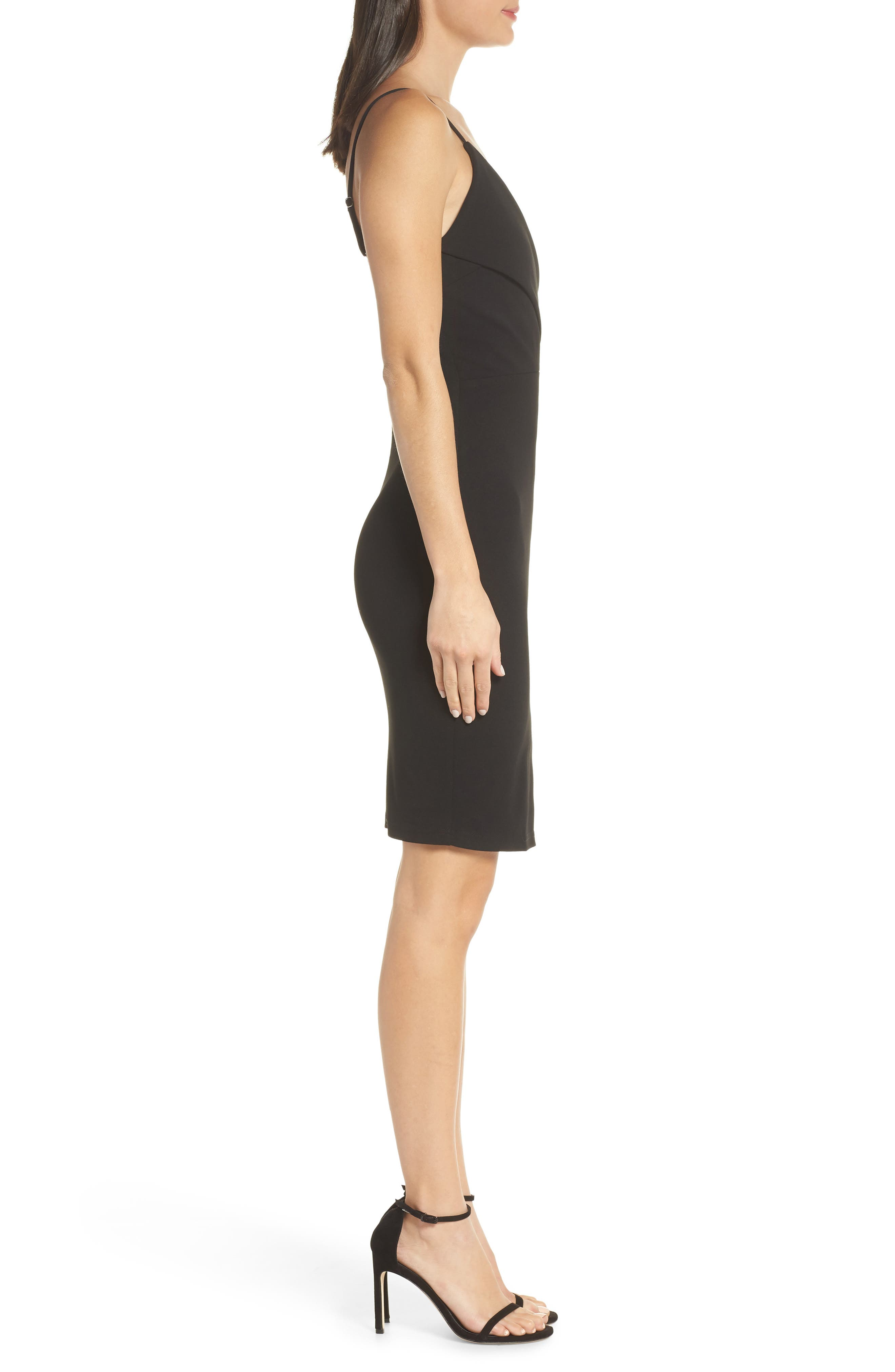 LULUS, Surplice Spaghetti Strap Cocktail Sheath, Alternate thumbnail 4, color, BLACK