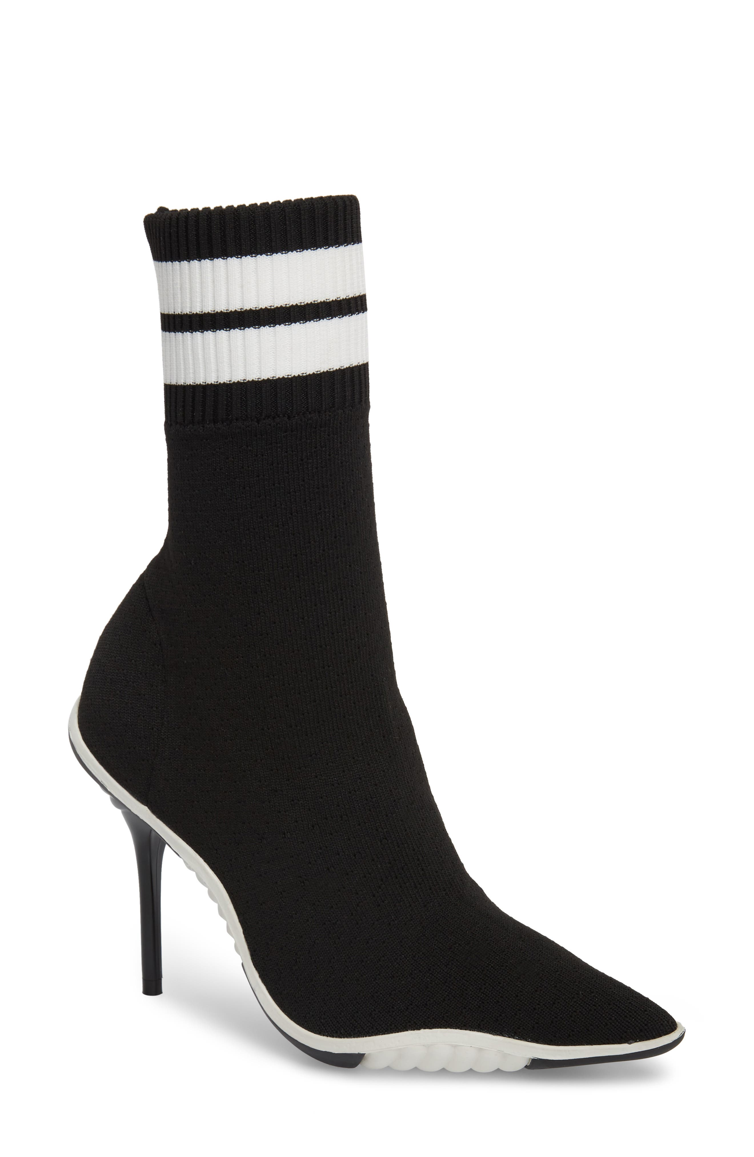 JEFFREY CAMPBELL, Goal Sock Sneaker Bootie, Main thumbnail 1, color, BLACK/ WHITE FABRIC