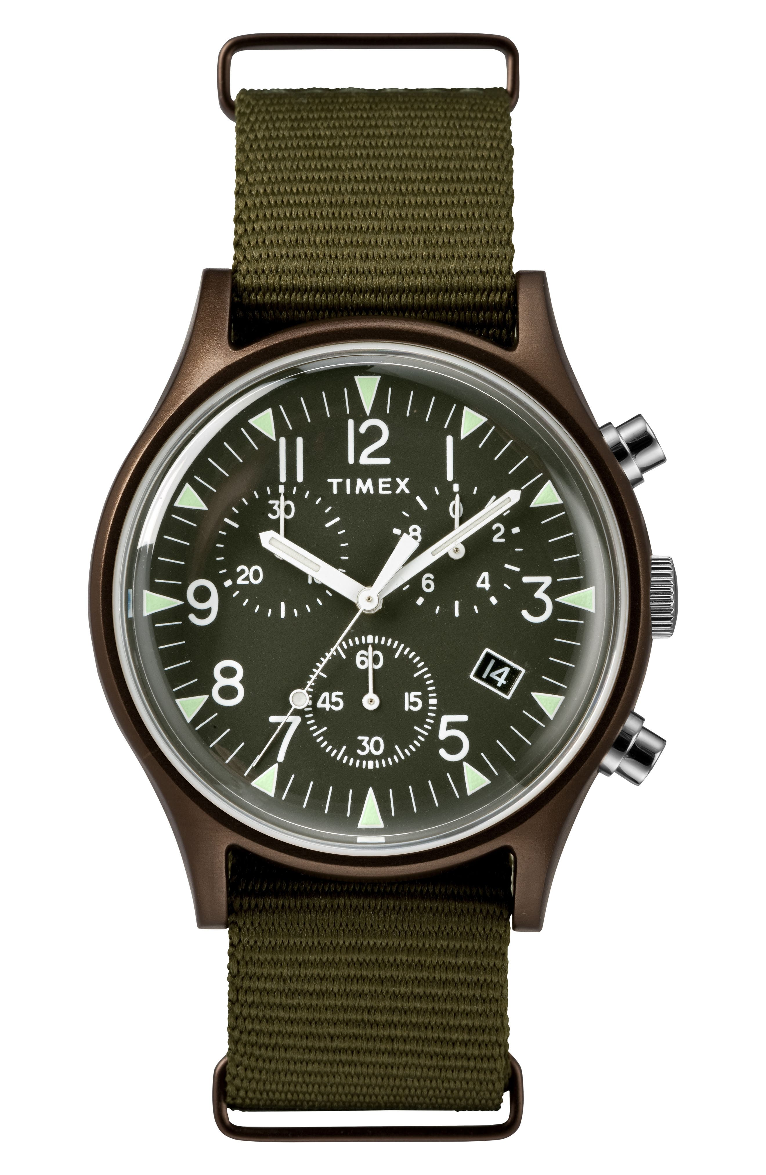 TIMEX<SUP>®</SUP> MK1 Chronograph Nylon Strap Watch, Main, color, OLIVE