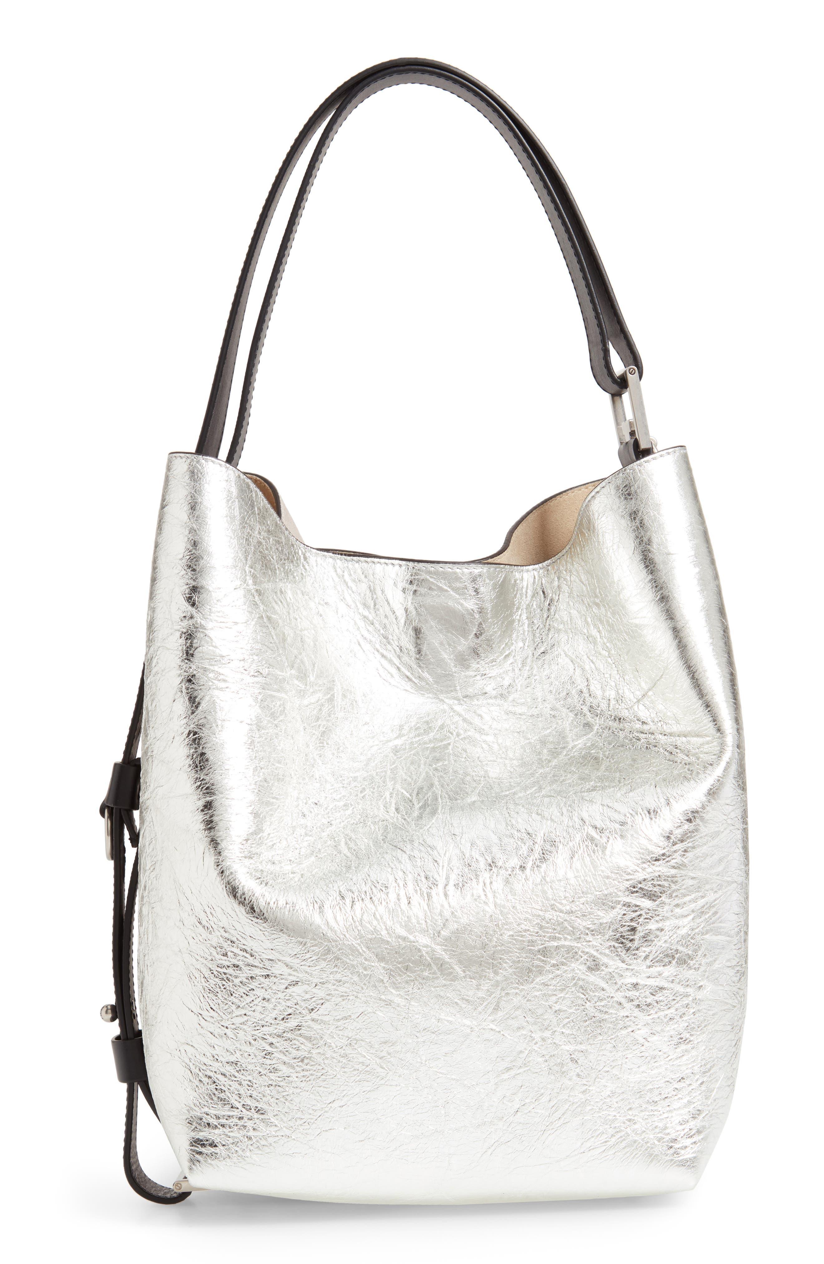 GIVENCHY, Medium GV Calfskin Suede Bucket Bag, Alternate thumbnail 4, color, NATURAL/ SILVER