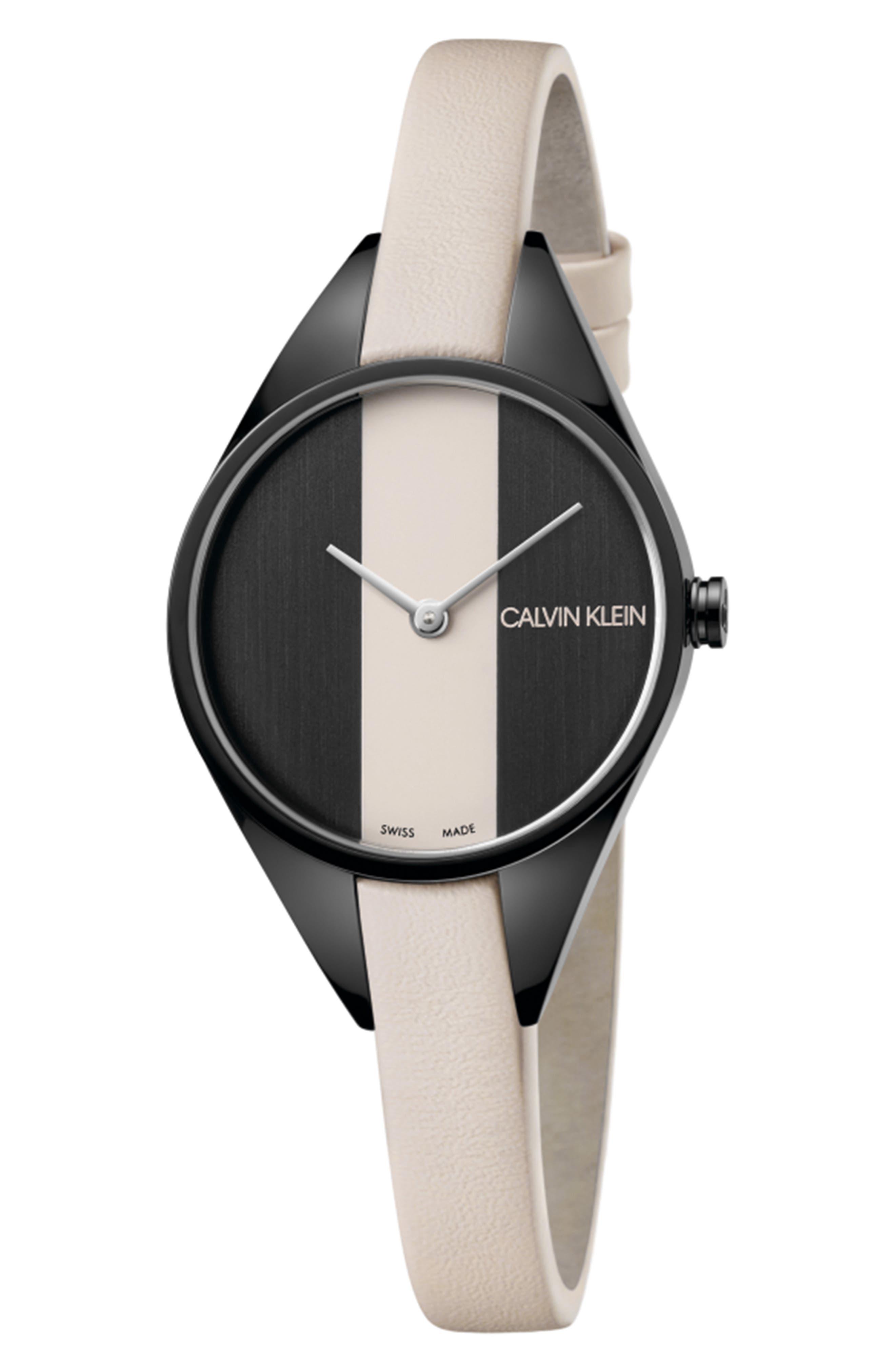CALVIN KLEIN Achieve Rebel Leather Band Watch, 29mm, Main, color, CREAM/ BLACK