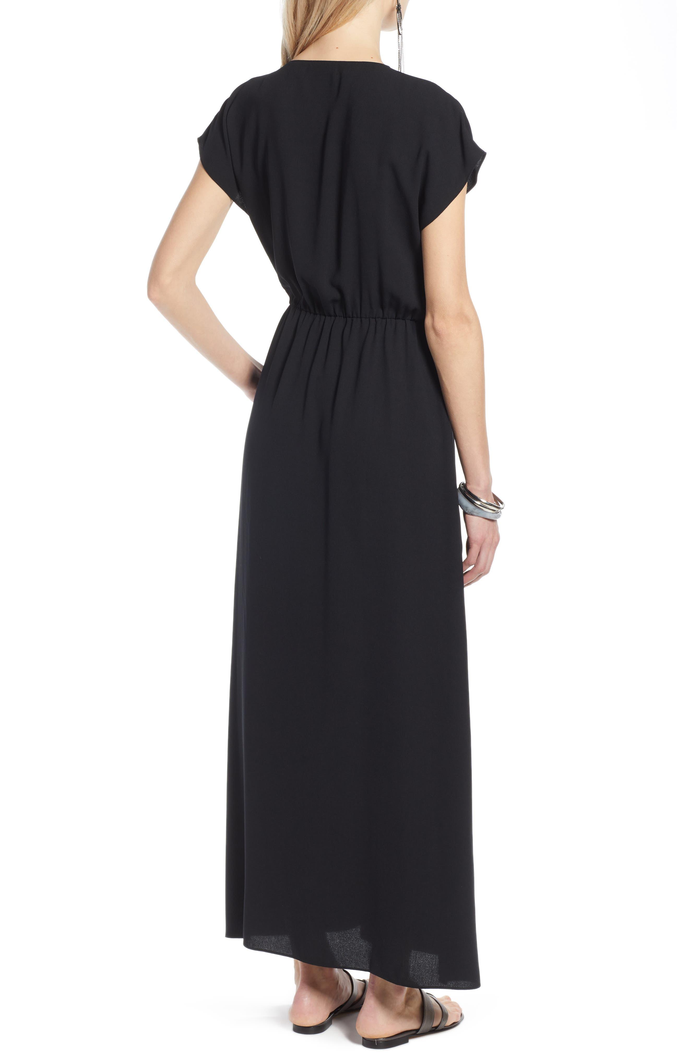 HALOGEN<SUP>®</SUP>, V-Neck Maxi Dress, Alternate thumbnail 2, color, BLACK