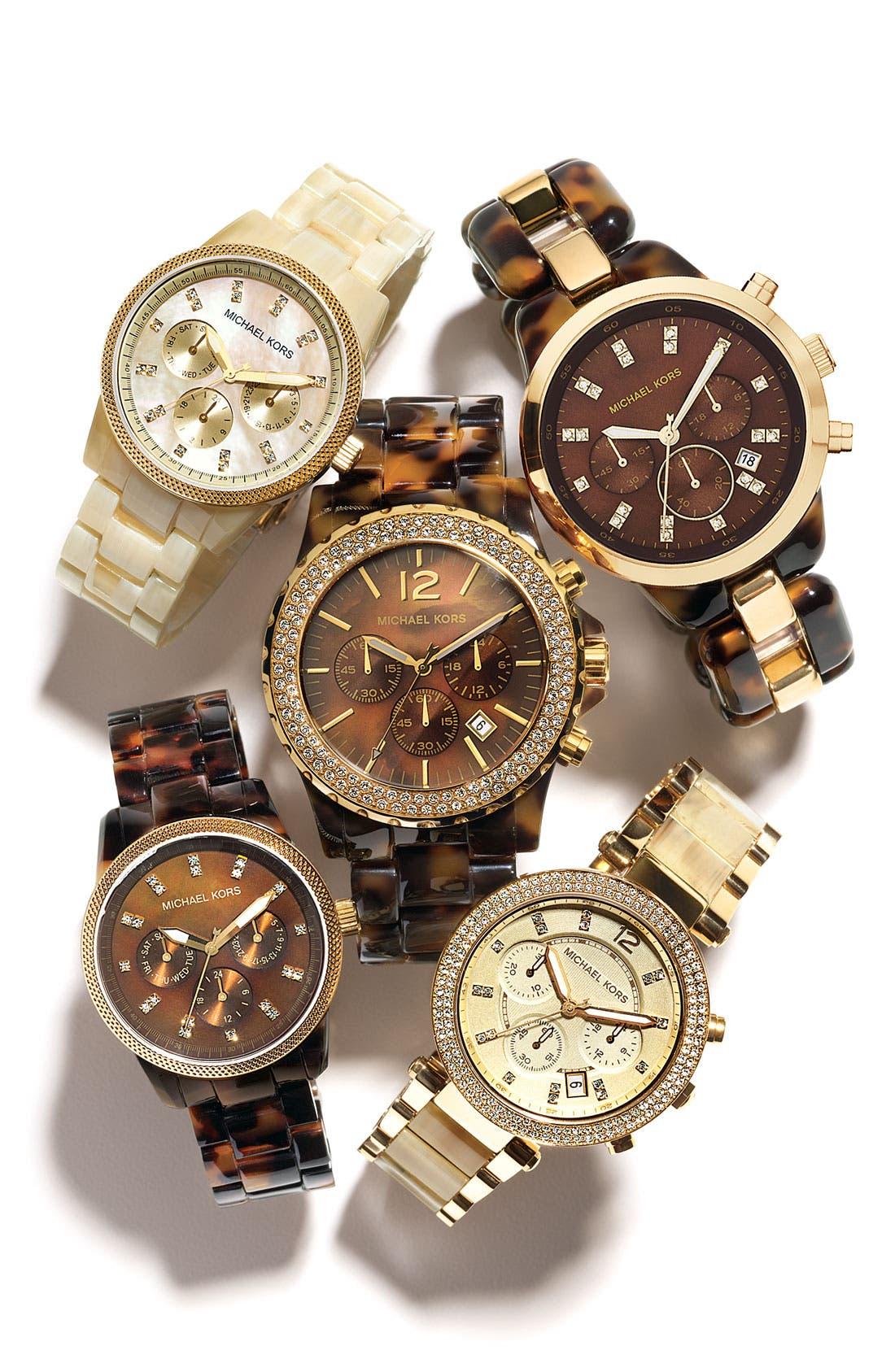 MICHAEL MICHAEL KORS, Michael Kors 'Jet Set' Bracelet Watch, Alternate thumbnail 2, color, HRN
