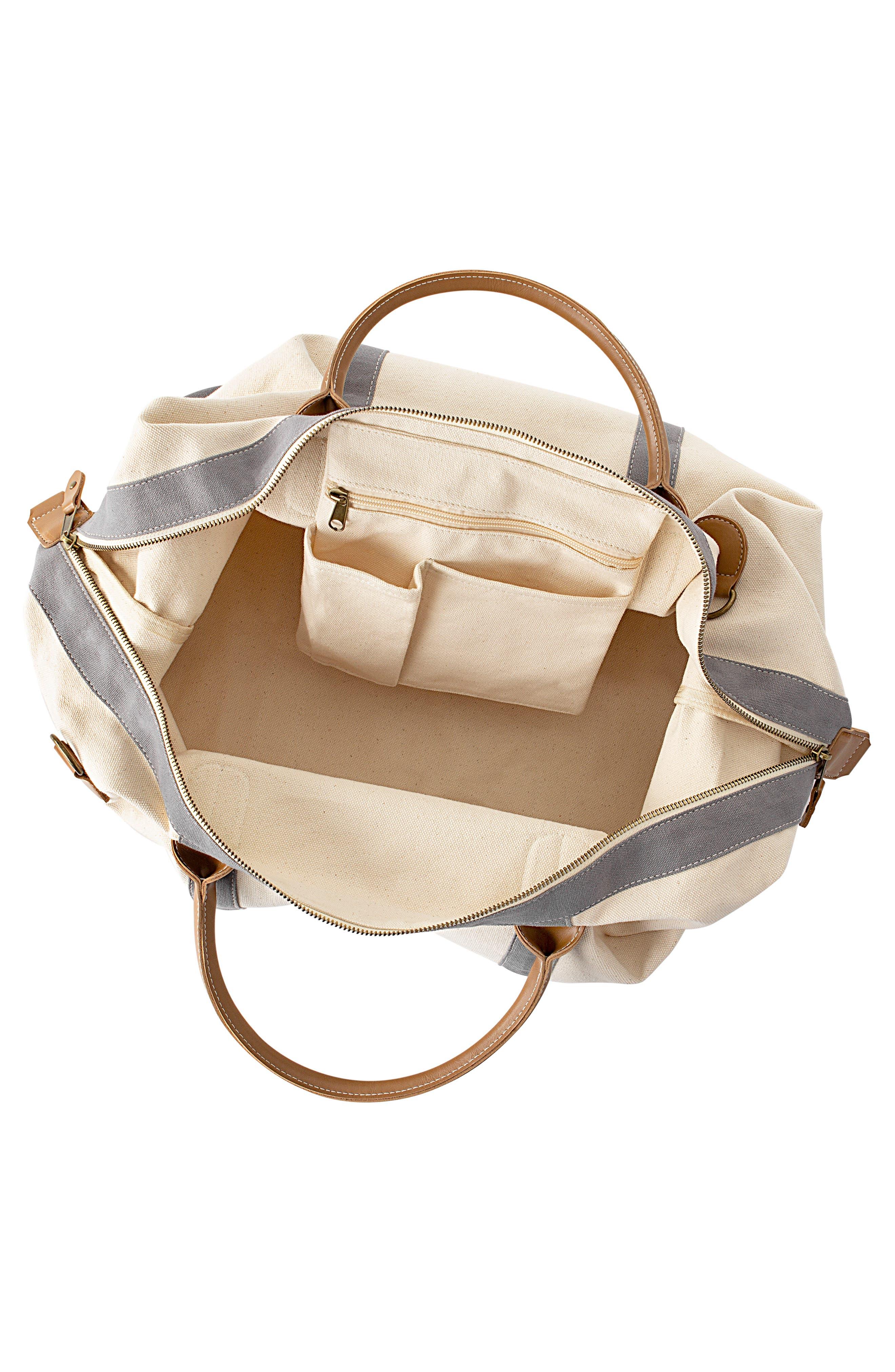CATHY'S CONCEPTS Cathys Concepts Monogram Canvas Duffle Bag, Main, color, WHITE-J