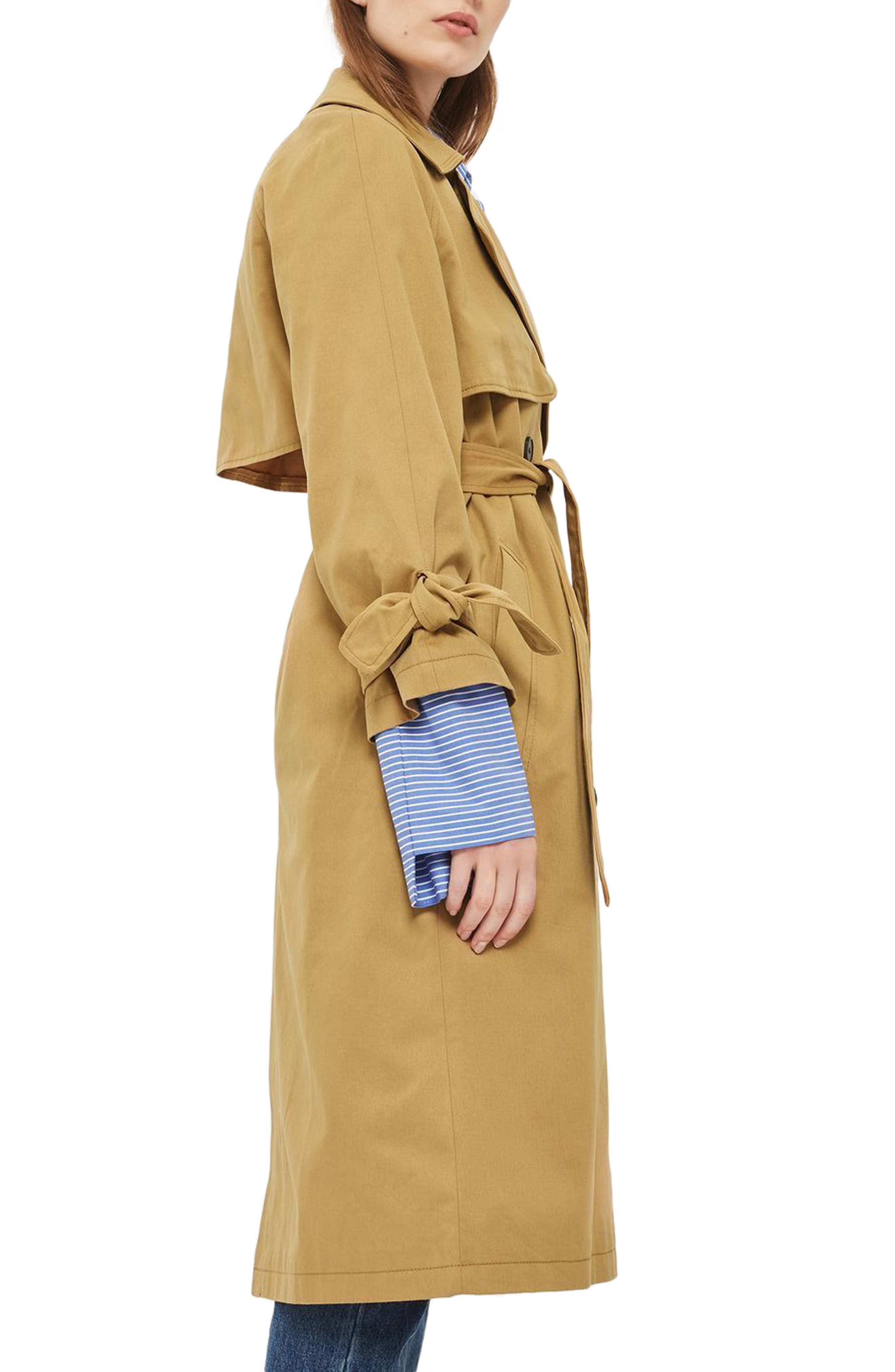 TOPSHOP, Editor's Double Breasted Trench Coat, Alternate thumbnail 2, color, 200