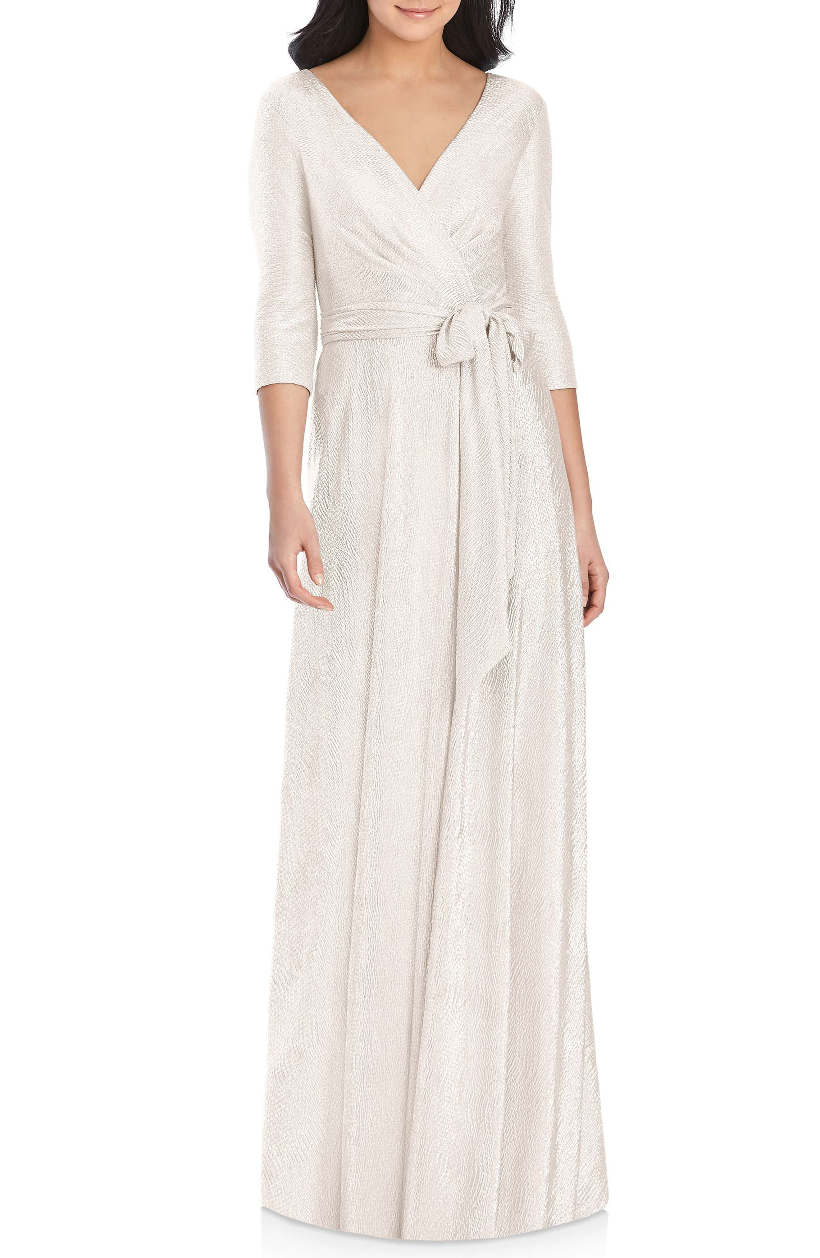 Dessy Collection All Soho Shimmer Faux Wrap Gown, Pink