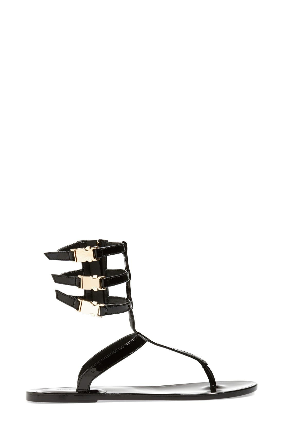 RACHEL ZOE, 'Cecille' Leather Ankle Strap Sandal, Alternate thumbnail 3, color, 001