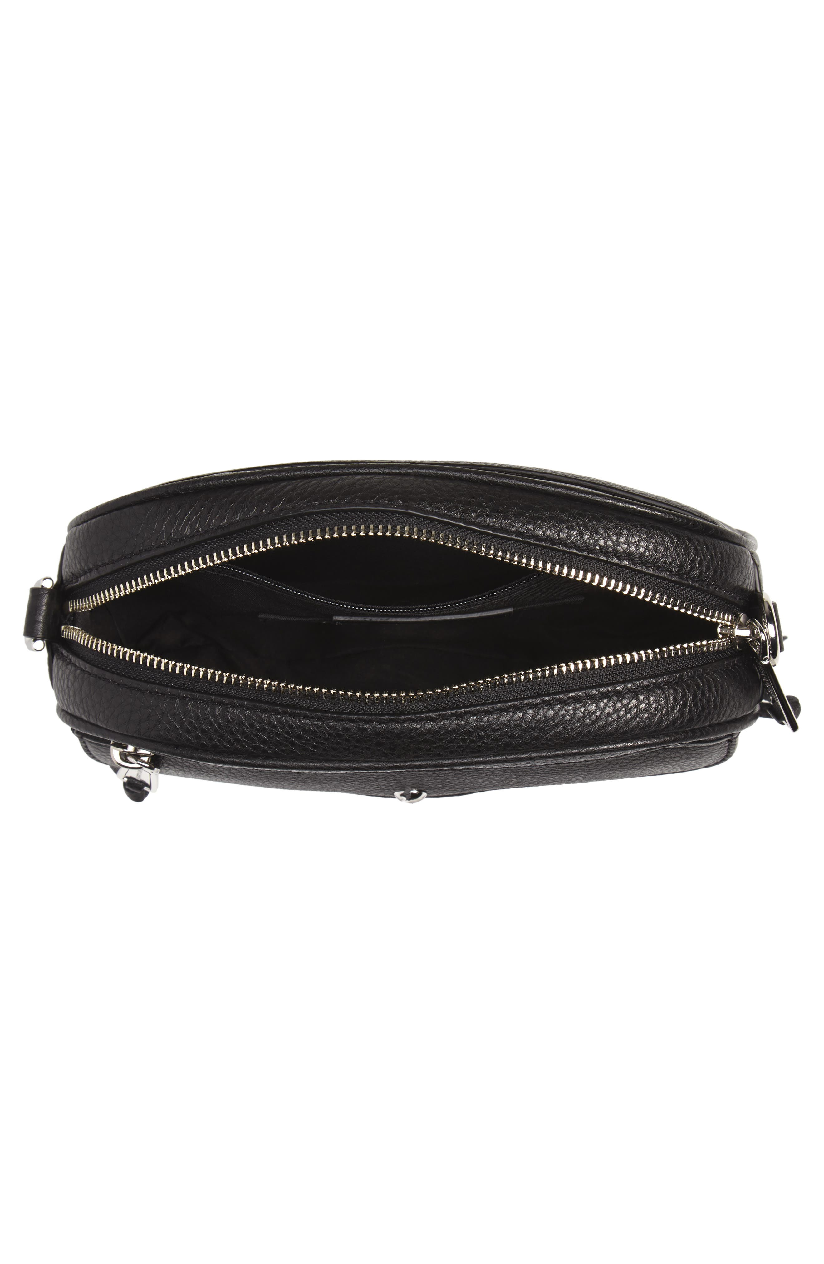 REBECCA MINKOFF, Blythe Leather Crossbody Bag, Alternate thumbnail 5, color, BLACK