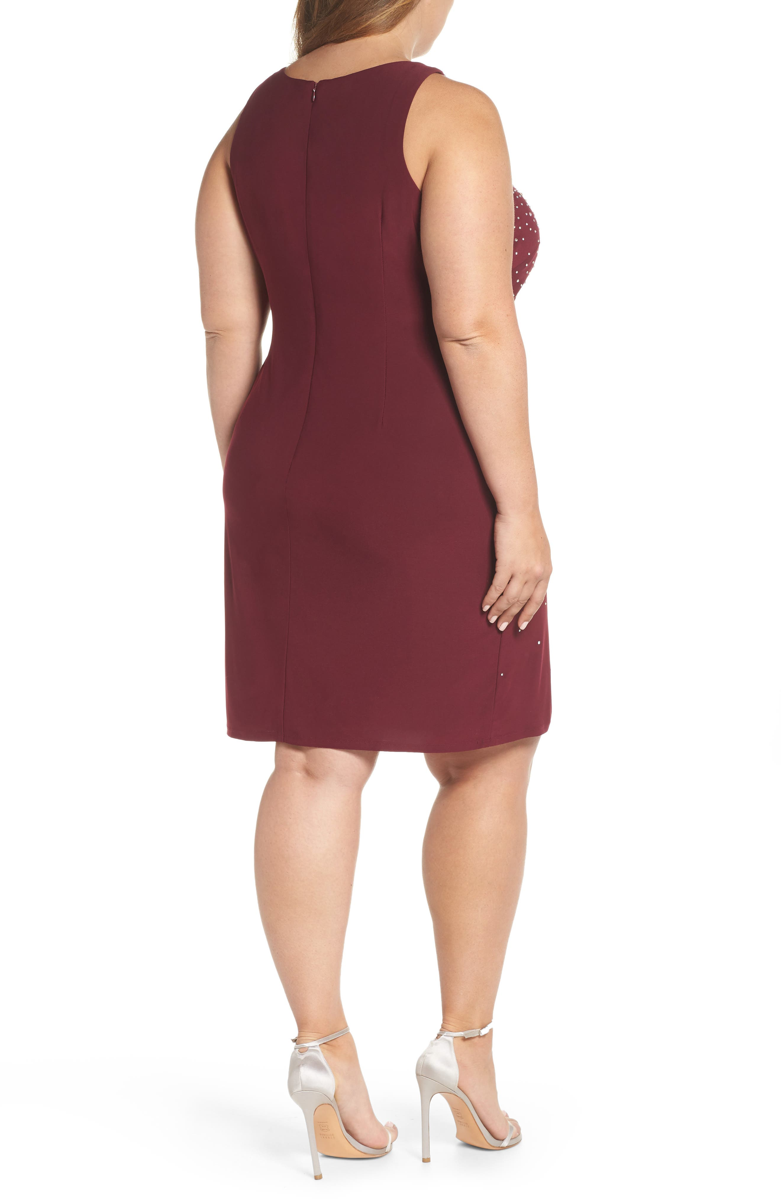 MORGAN & CO., Embellished Keyhole Neck Sheath Dress, Alternate thumbnail 2, color, MERLOT