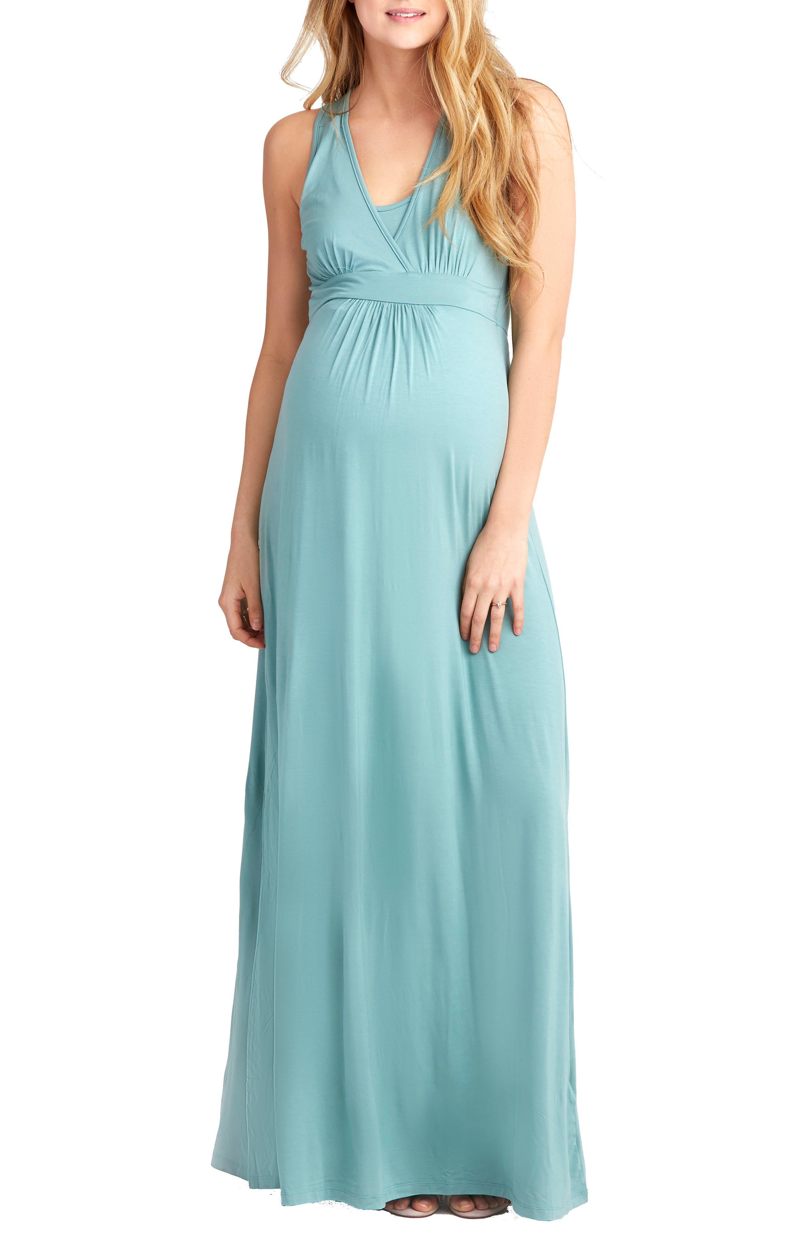 Nom Maternity Hollis Maternity/nursing Maxi Dress, Green