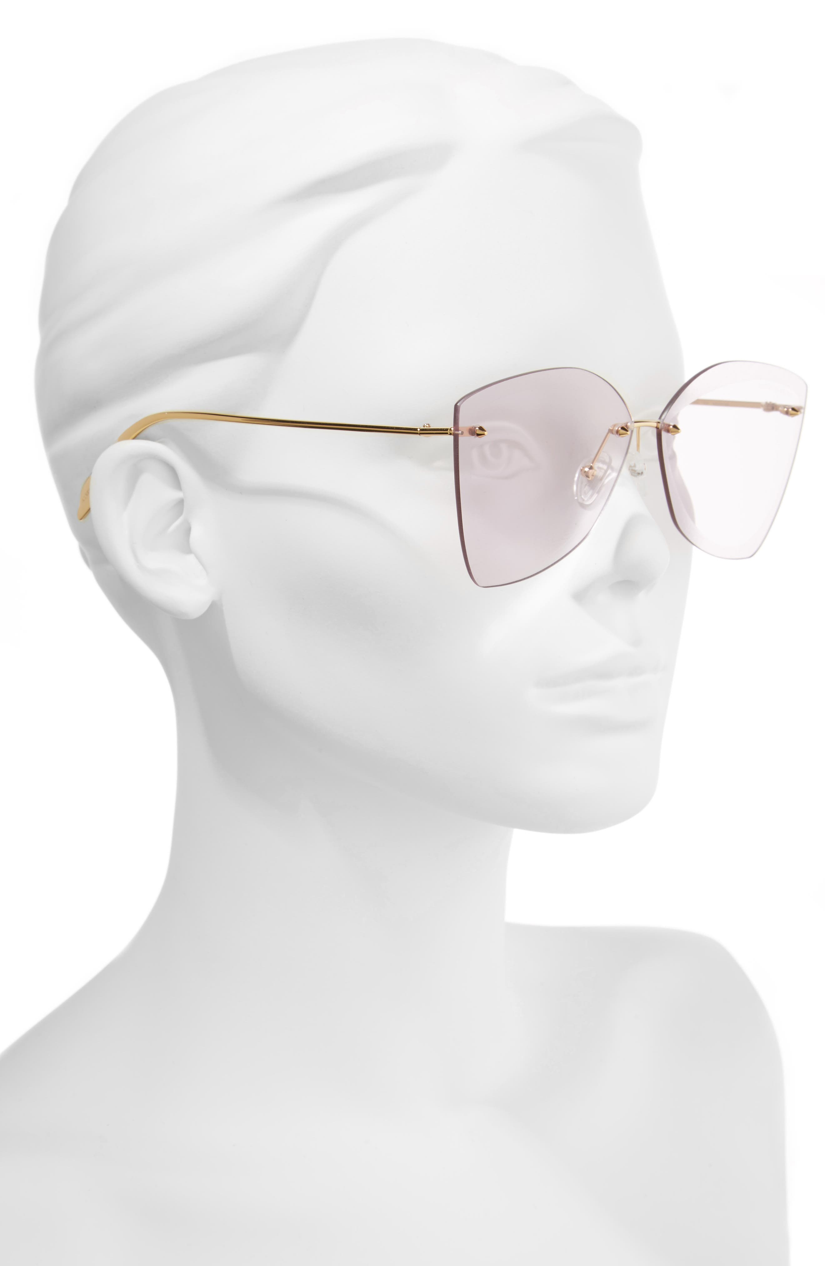 ALEXANDER MCQUEEN, 64mm Oversize Rimless Sunglasses, Alternate thumbnail 2, color, GOLD