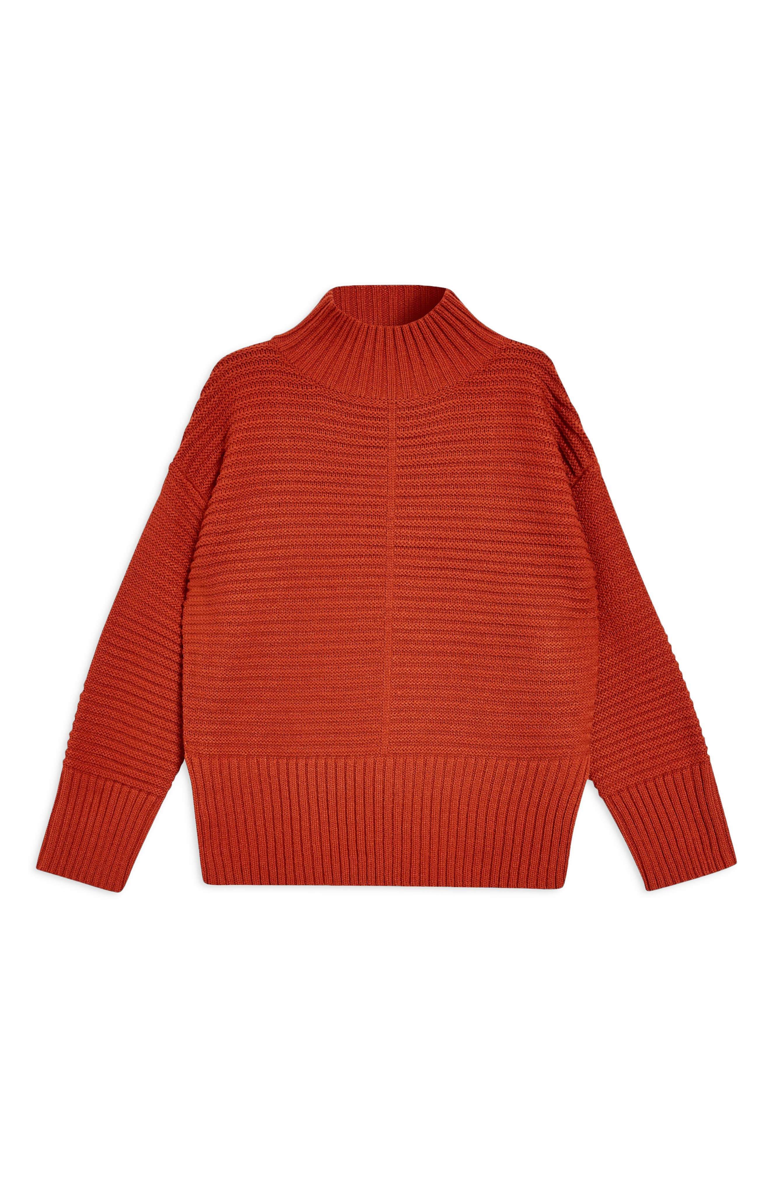TOPSHOP, Mock Neck Sweater, Alternate thumbnail 5, color, RUST