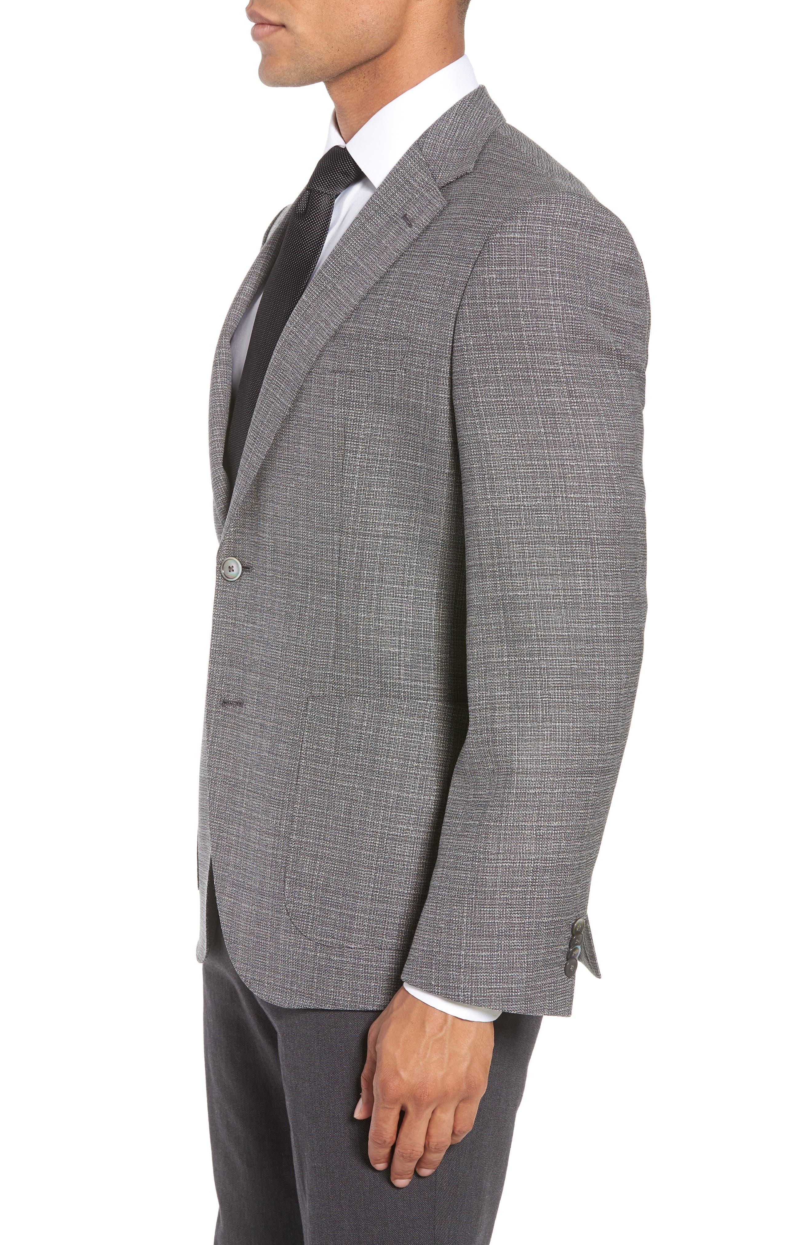 BOSS, Janson Classic Fit Wool Blazer, Alternate thumbnail 3, color, GREY