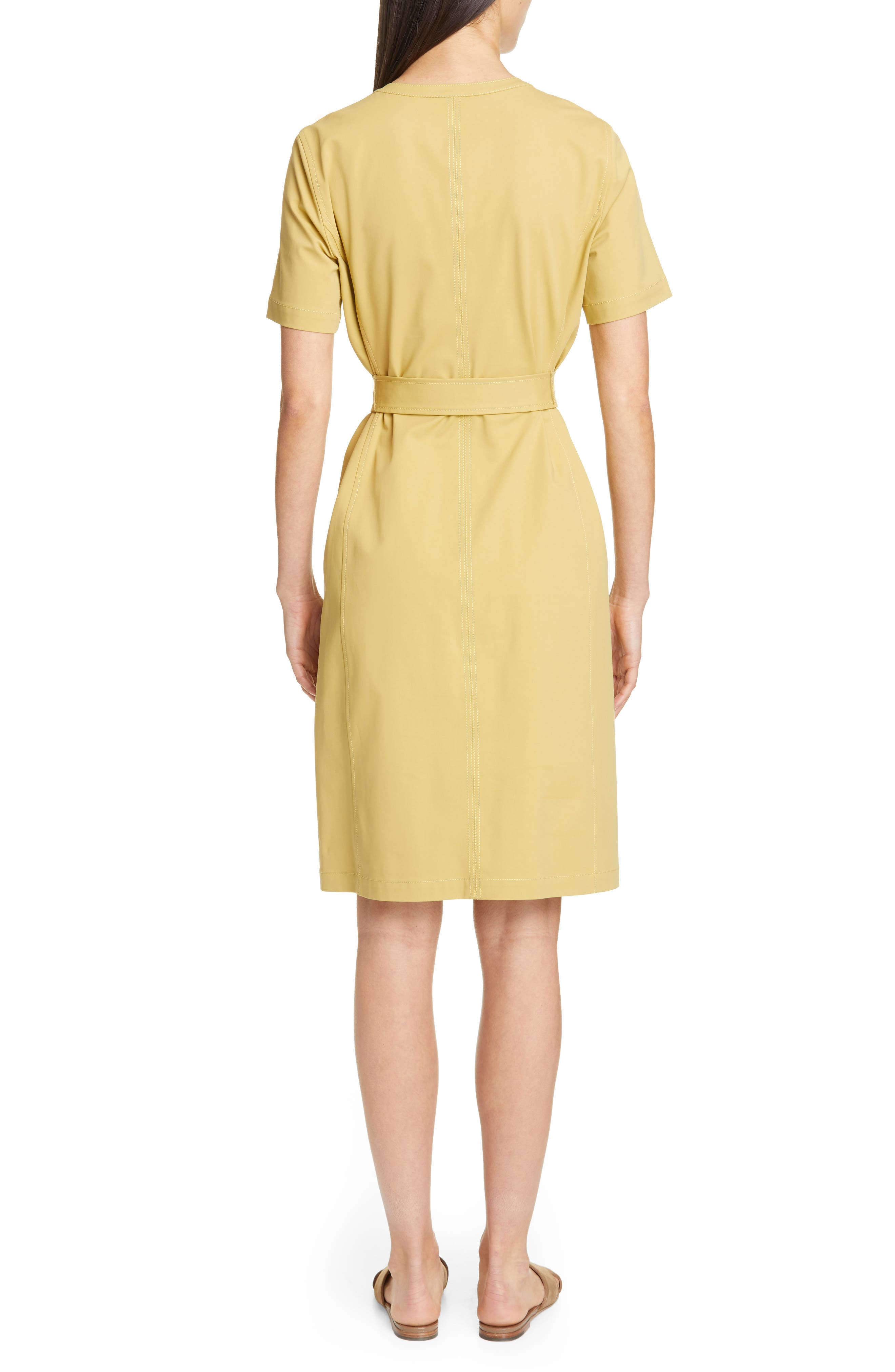 LAFAYETTE 148 NEW YORK, Elizabella Belted Dress, Alternate thumbnail 2, color, GREEN TEA