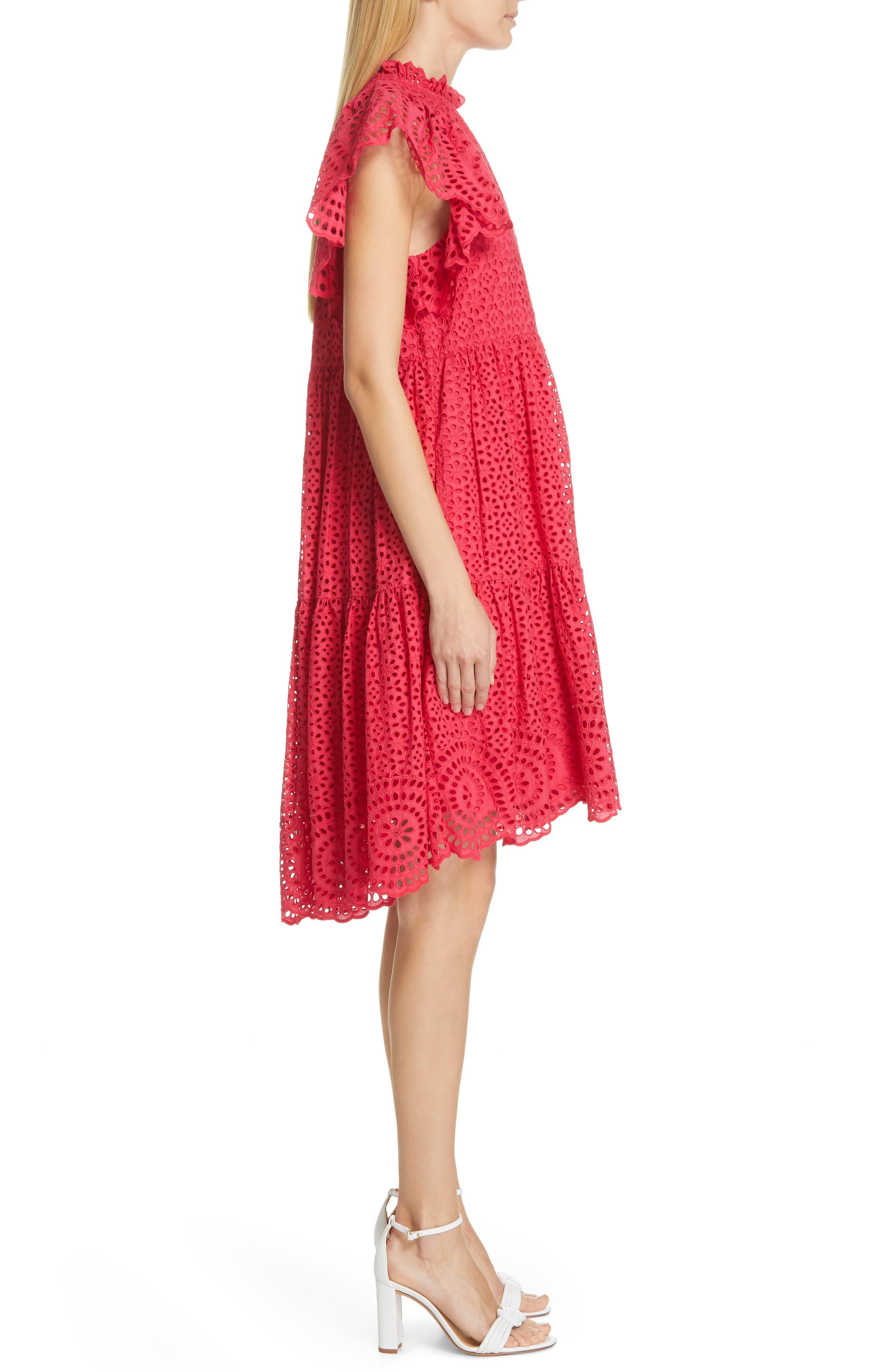 ULLA JOHNSON, Norah Eyelet Dress, Alternate thumbnail 4, color, FUCHSIA