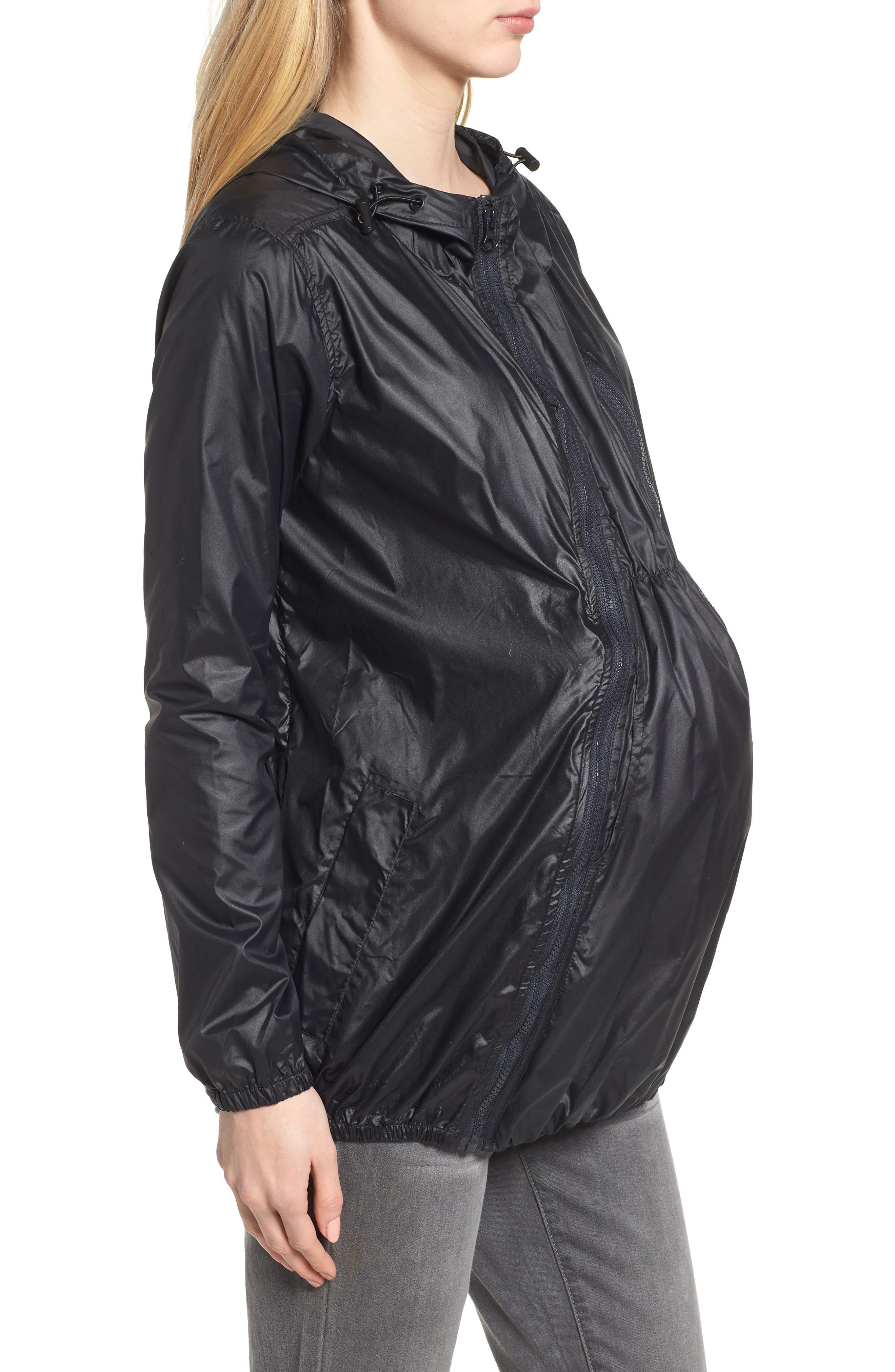 MODERN ETERNITY, Waterproof Convertible 3-in-1 Maternity Windbreaker, Alternate thumbnail 4, color, BLACK