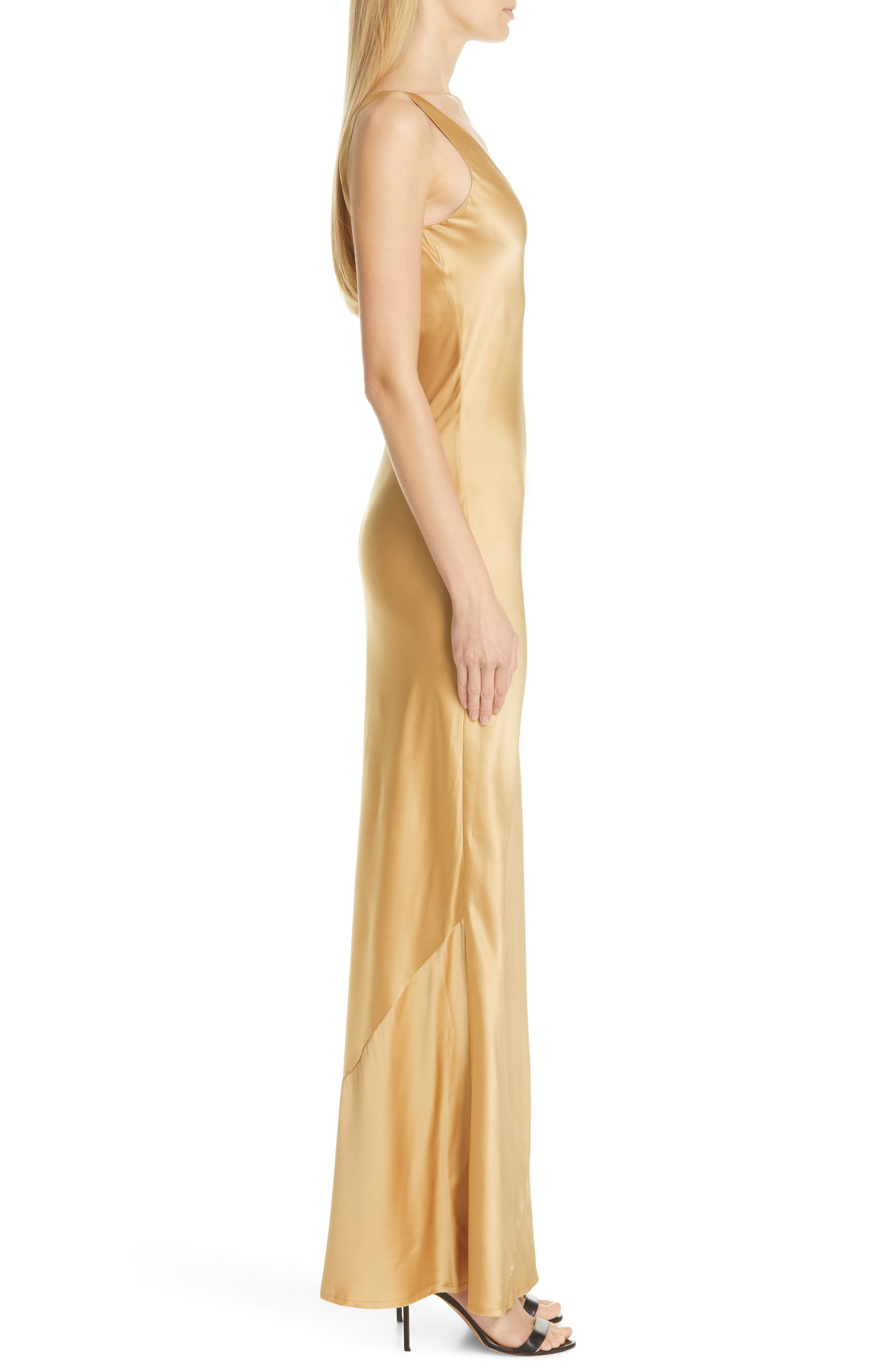 NILI LOTAN, Bazile Silk Evening Dress, Alternate thumbnail 3, color, GOLDEN
