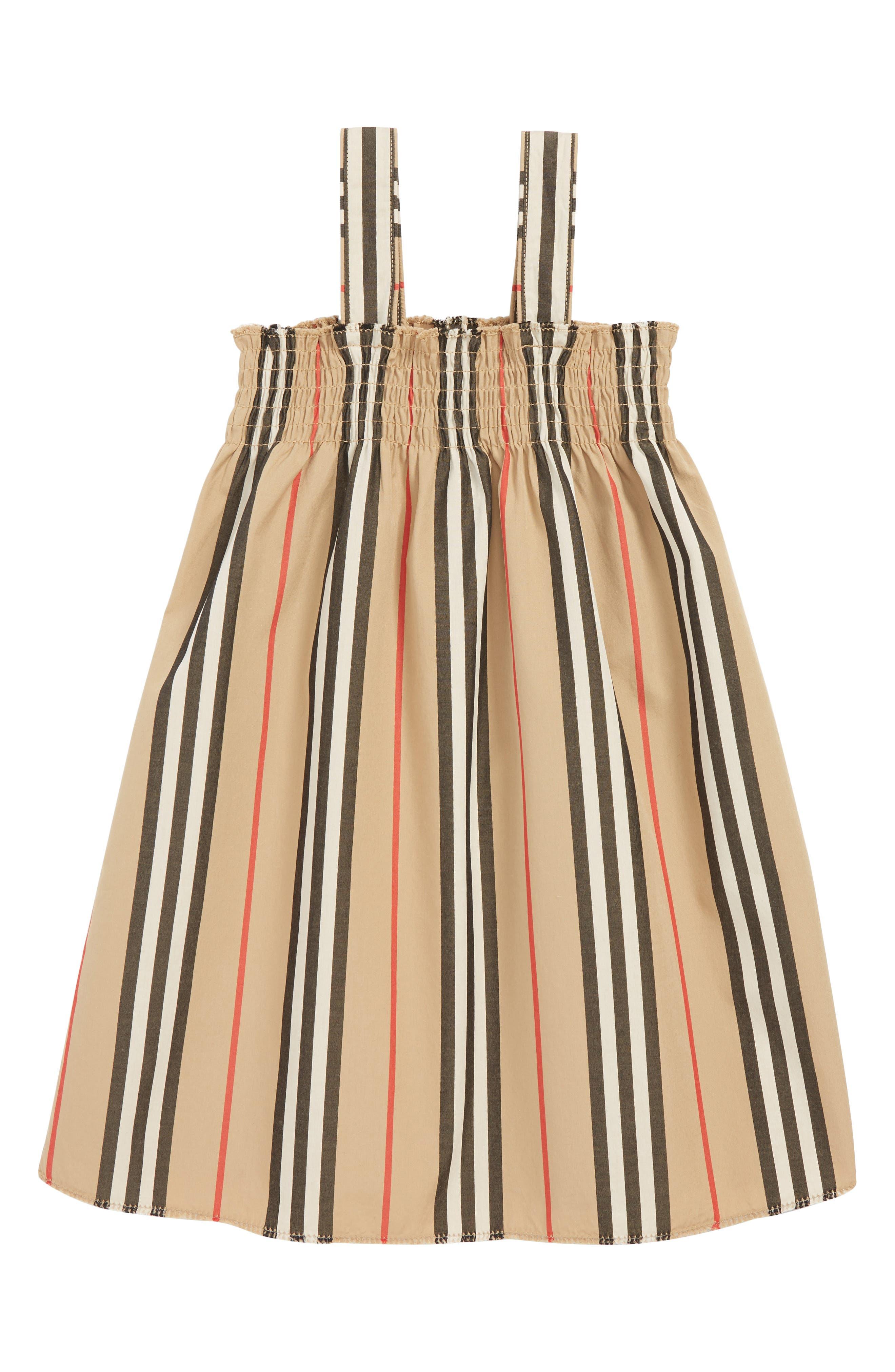 BURBERRY Mini Junia Stripe Dress, Main, color, BEIGE