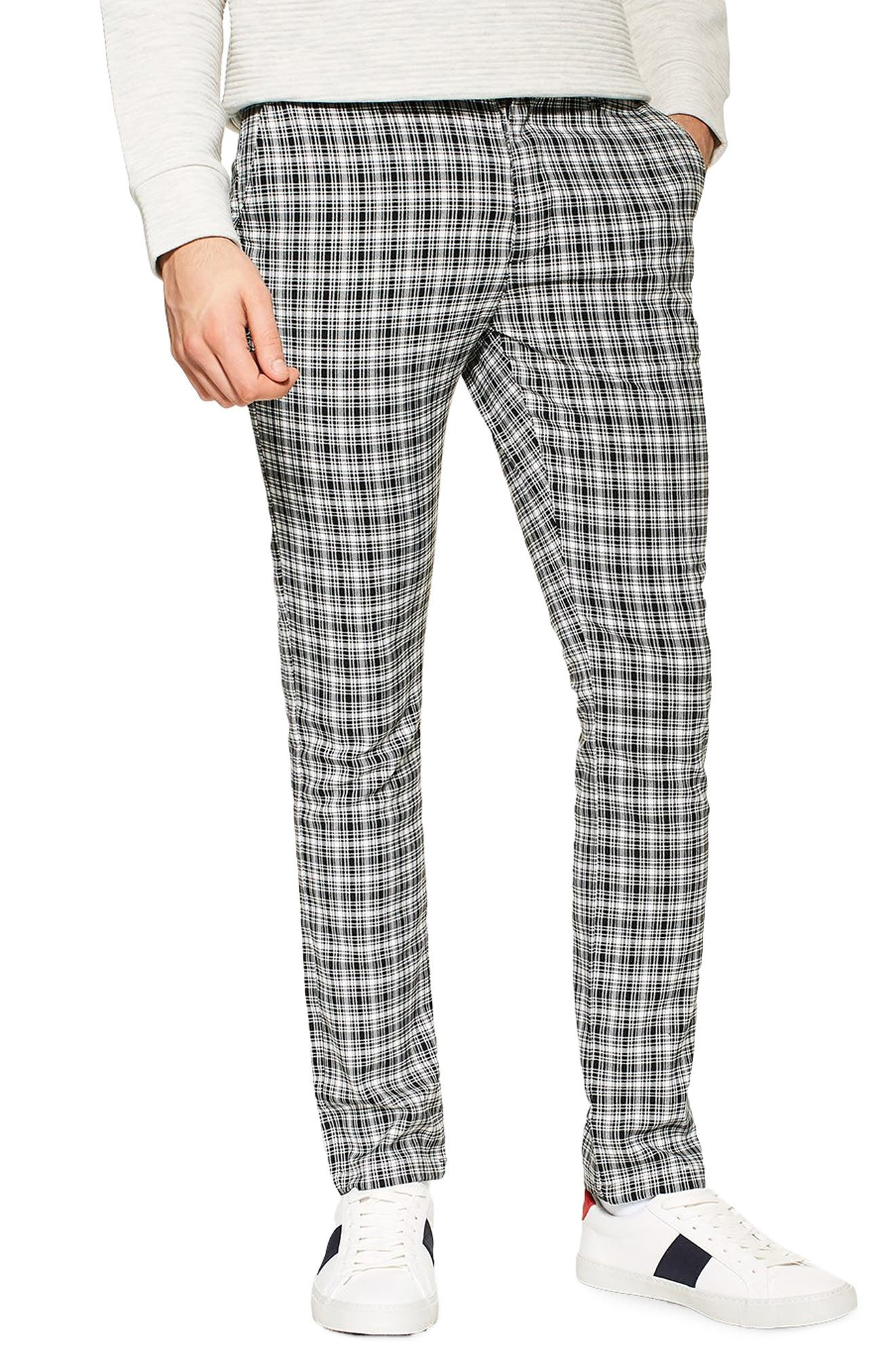 TOPMAN Check Stretch Skinny Fit Trousers, Main, color, BLACK