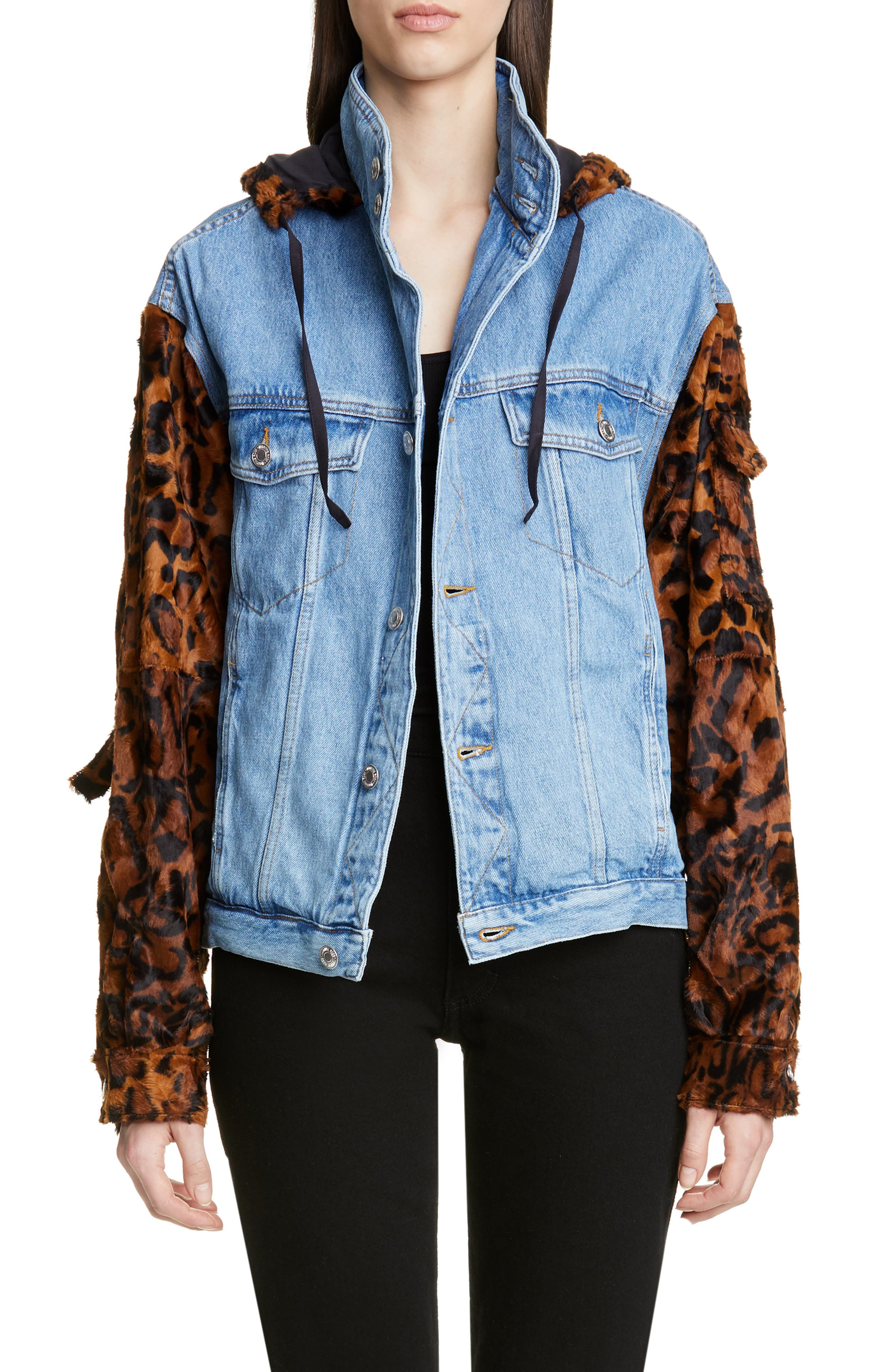 MARTINE ROSE, Leopard Hooded Denim Jacket, Main thumbnail 1, color, LIGHT DENIM DARK