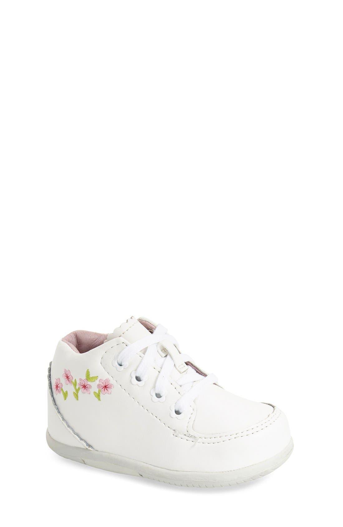 STRIDE RITE, 'Emilia' Leather Boot, Main thumbnail 1, color, WHITE