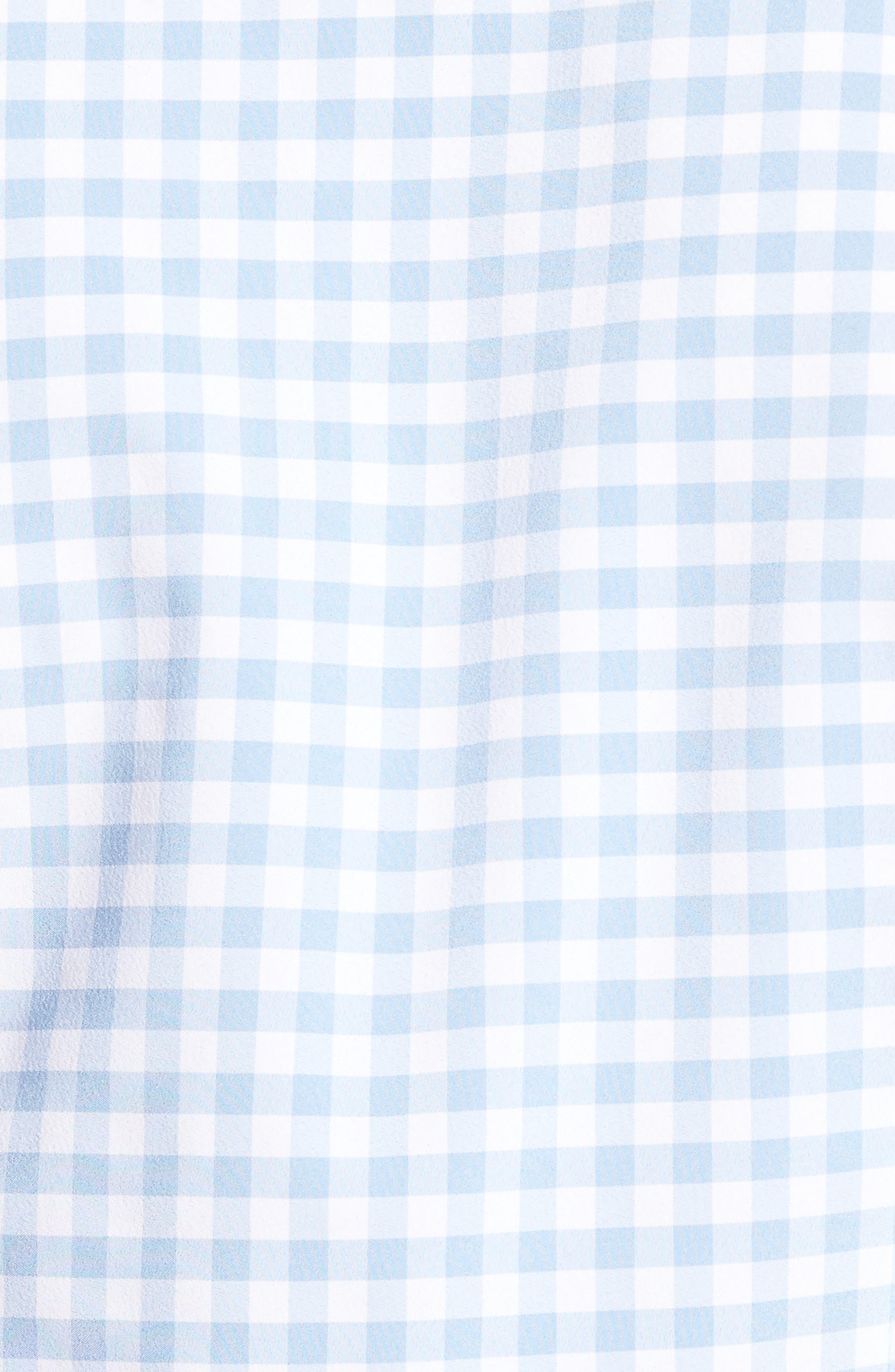 MIZZEN+MAIN, Hampton Trim Fit Gingham Performance Sport Shirt, Alternate thumbnail 5, color, BLUE