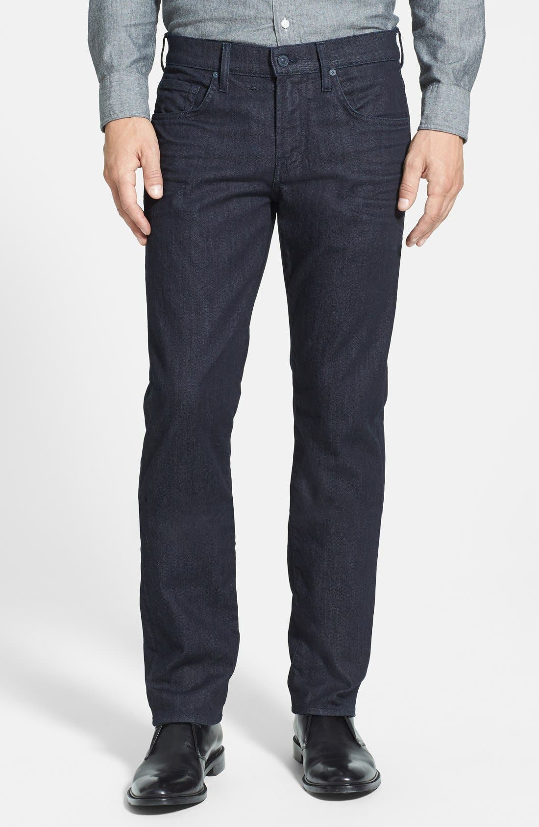 7 FOR ALL MANKIND<SUP>®</SUP>, The Straight - Luxe Performance Slim Straight Leg Jeans, Main thumbnail 1, color, DEEP WELL