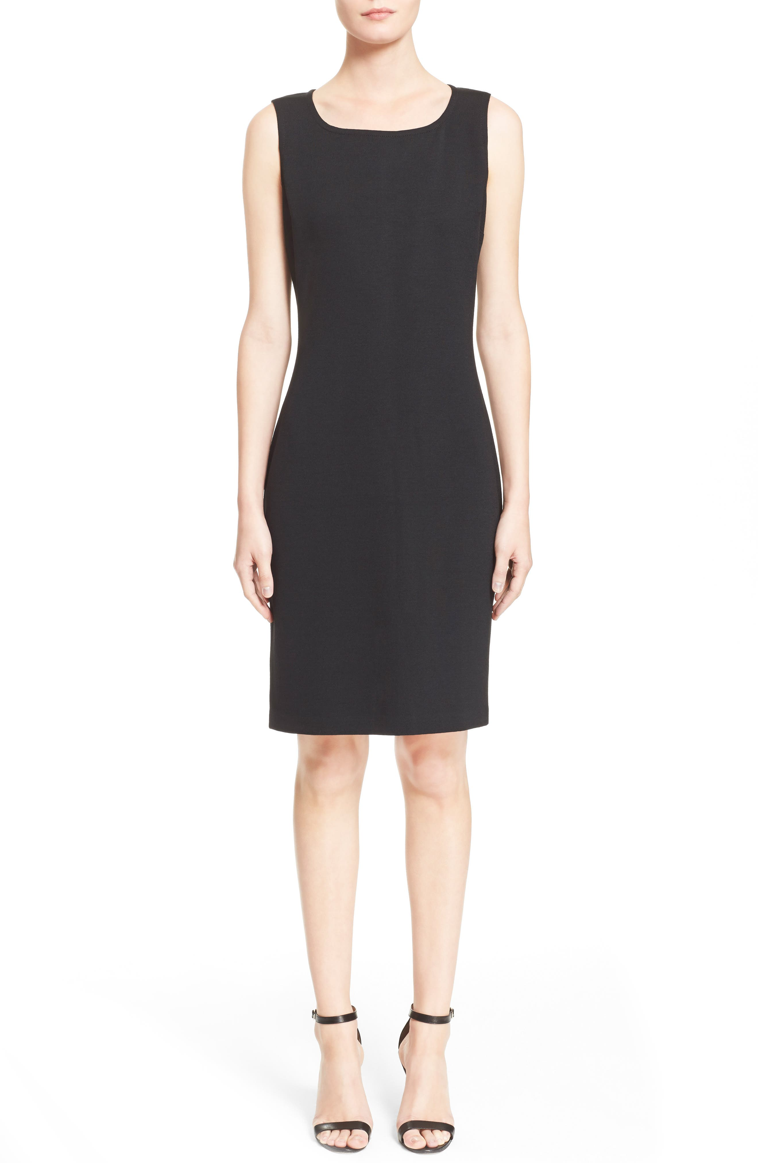 ST. JOHN COLLECTION, Milano Knit Sheath Dress, Main thumbnail 1, color, CAVIAR