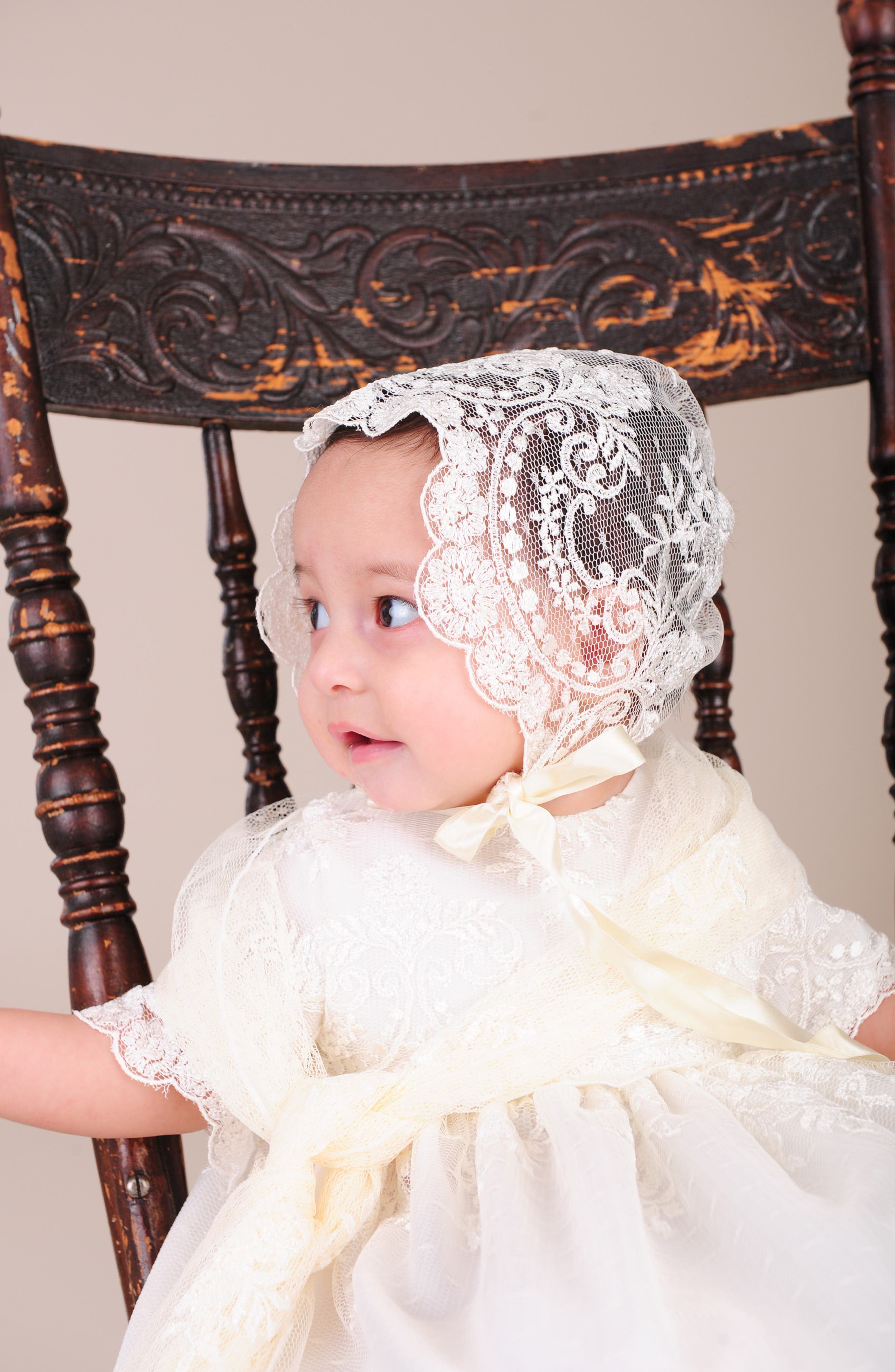 LITTLE THINGS MEAN A LOT, Christening Gown, Shawl, Slip & Bonnet Set, Alternate thumbnail 6, color, IVORY