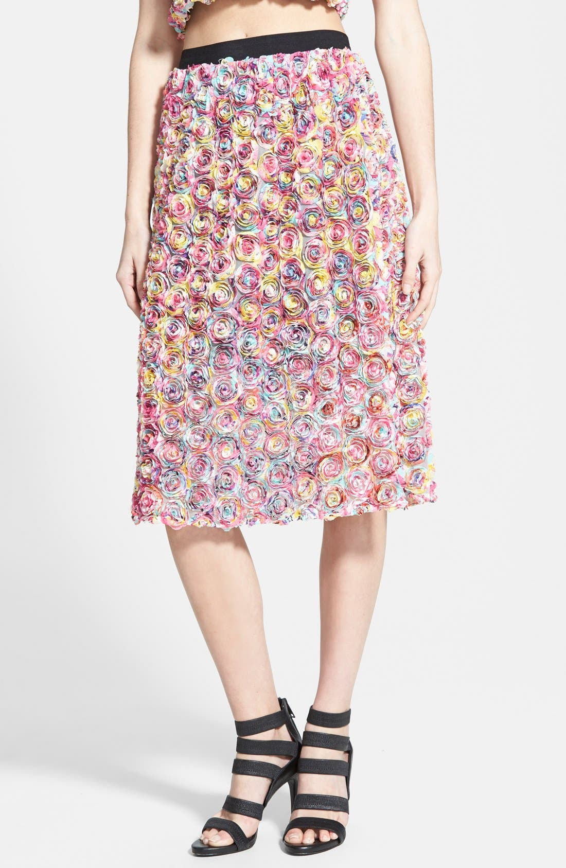 LEITH, Dimensional Floral Midi Skirt, Main thumbnail 1, color, 650