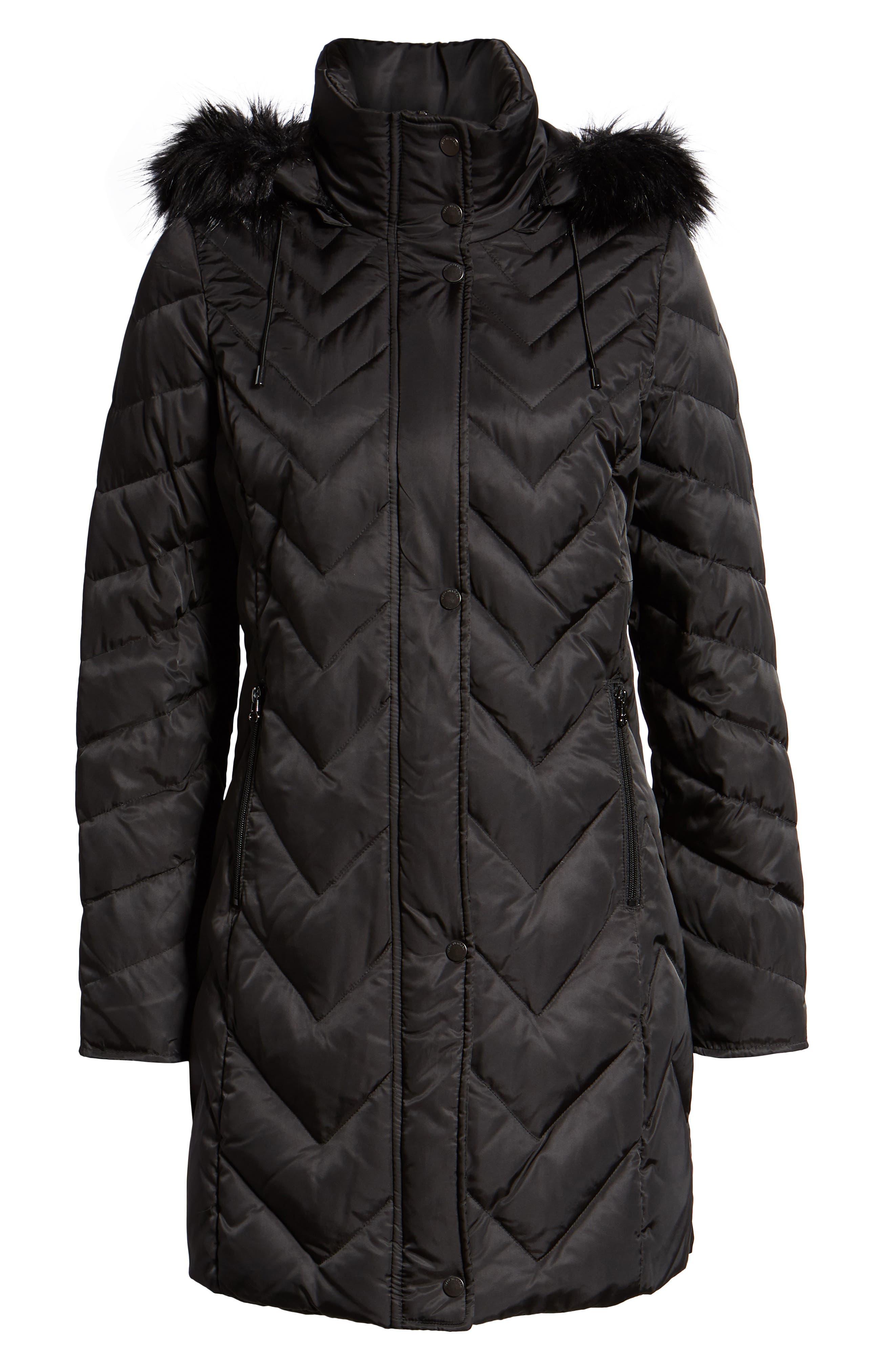 MARC NEW YORK, Matte Satin Chevron Faux Fur Trim Coat, Alternate thumbnail 6, color, BLACK