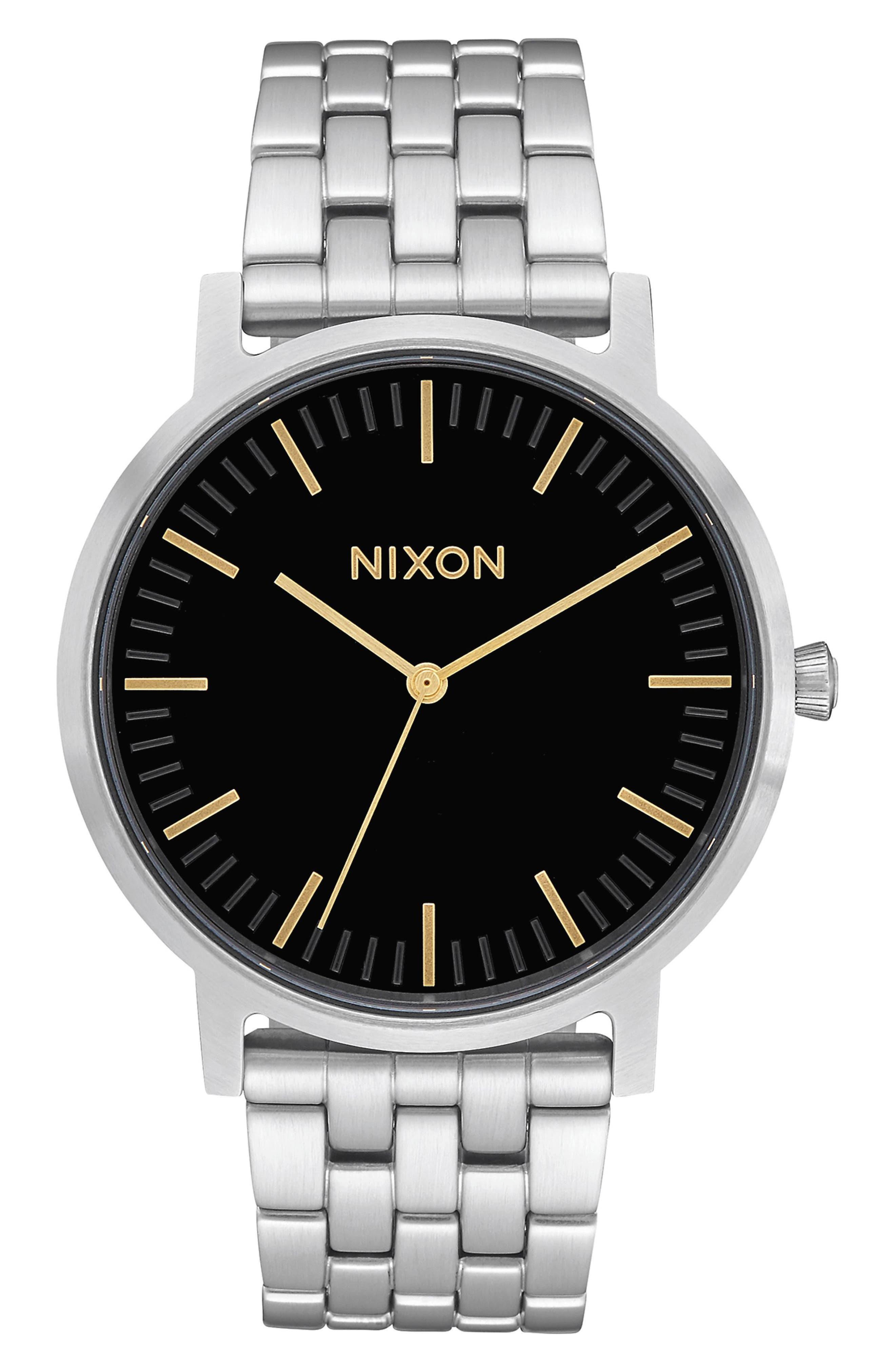 NIXON The Porter Bracelet Watch, 40mm, Main, color, SILVER/ BLACK/ SILVER