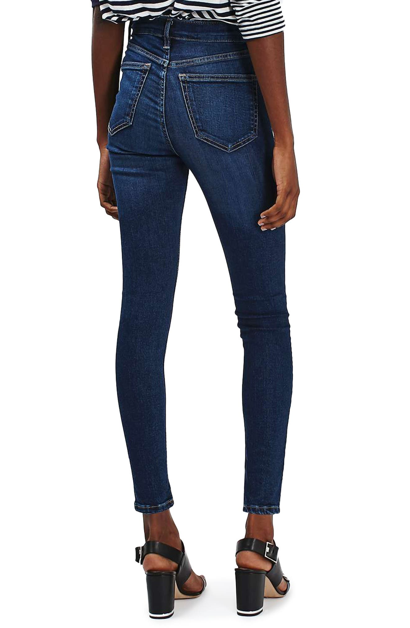 TOPSHOP, Jamie High Waist Ankle Skinny Jeans, Alternate thumbnail 2, color, 401