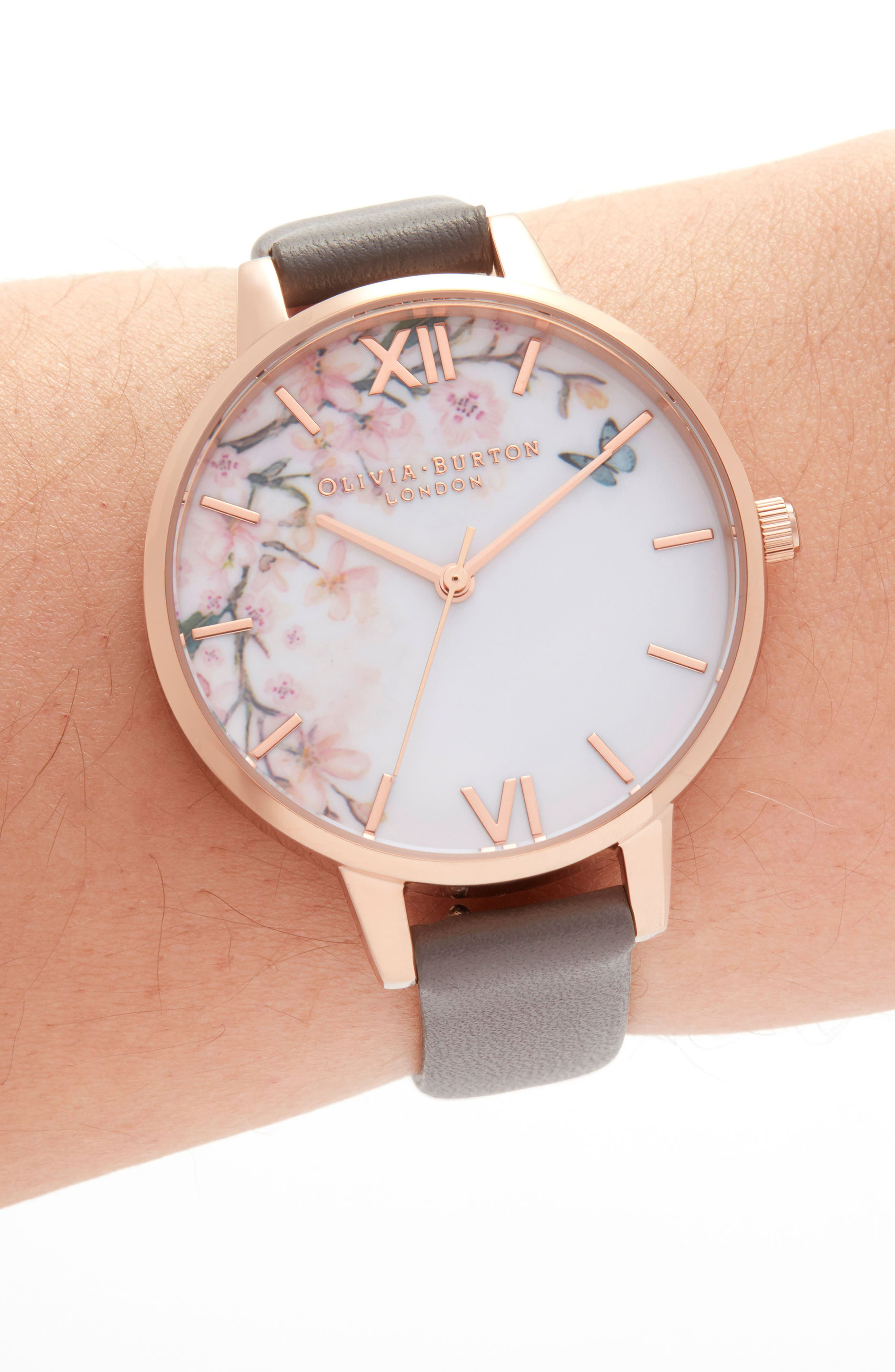 OLIVIA BURTON, Pretty Blossom Leather Strap Watch, 34mm, Alternate thumbnail 2, color, GREY / WHITE/ ROSE GOLD
