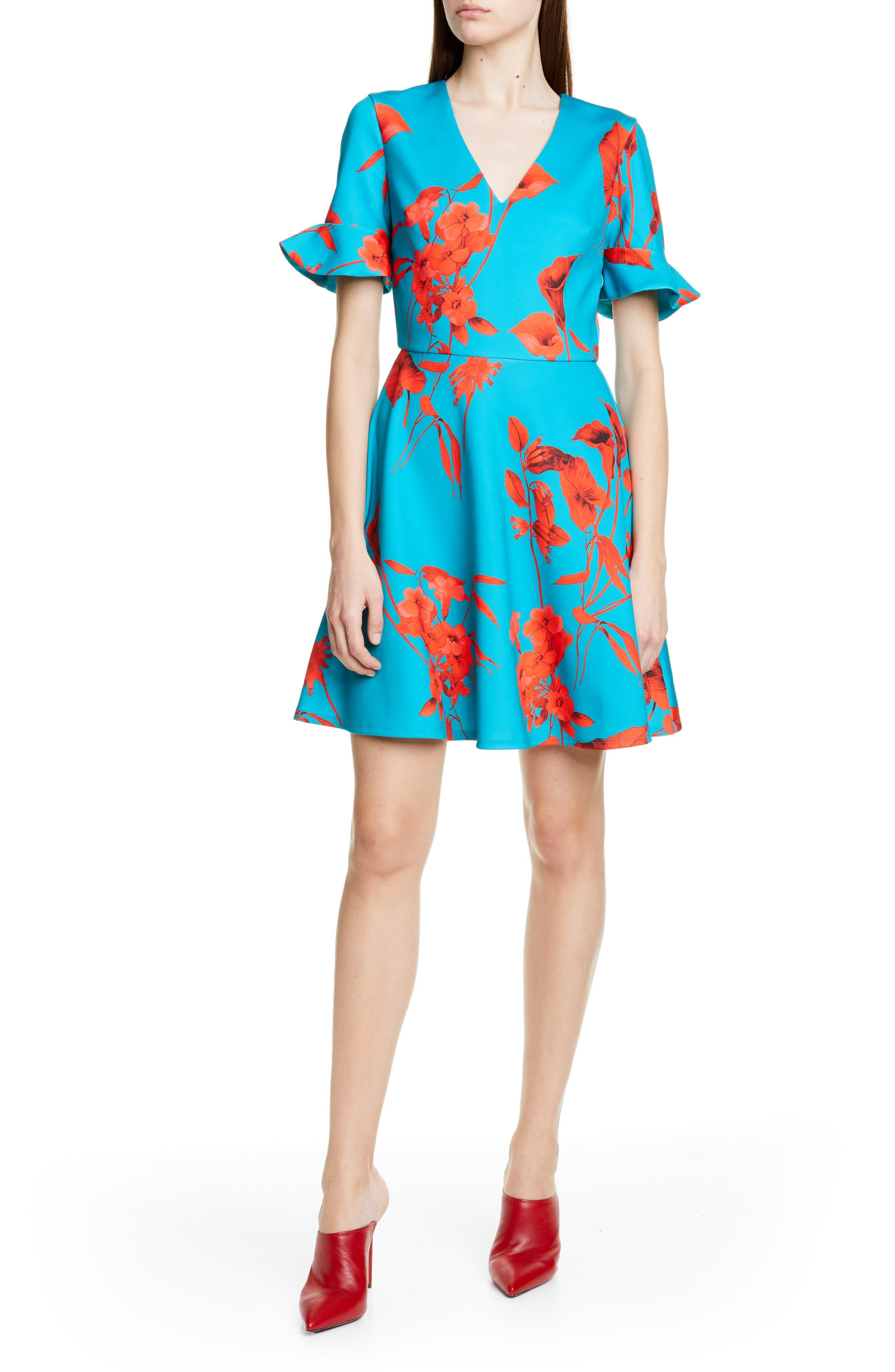 Ted Baker London Chynaa Fantasia V-Neck Skater Dress, Blue