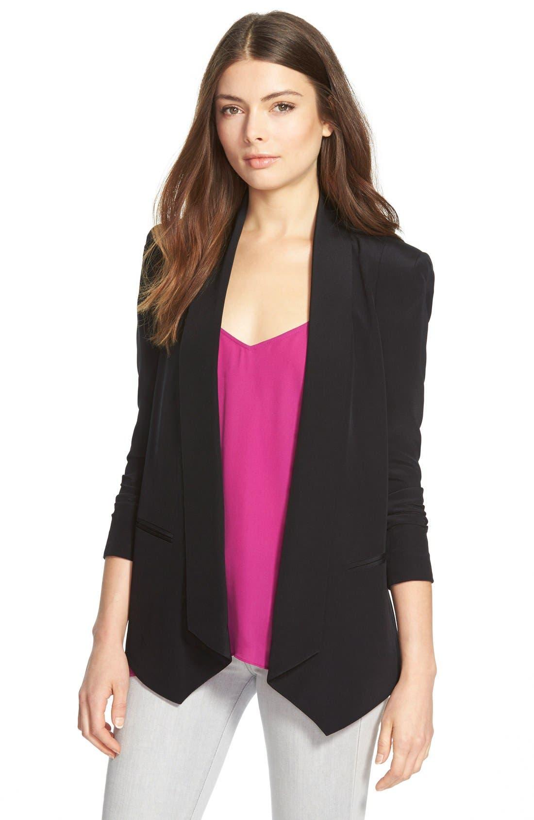 REBECCA MINKOFF, 'Becky' Long Tuxedo Blazer, Main thumbnail 1, color, 001