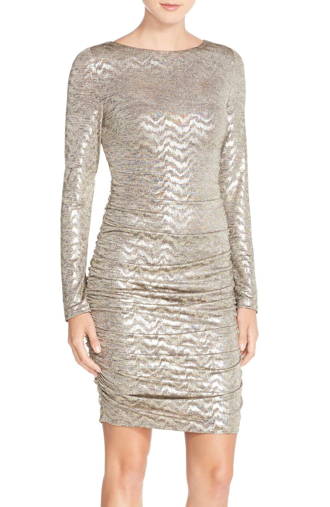 VINCE CAMUTO, Metallic Jersey Body-Con Dress, Main thumbnail 1, color, 710