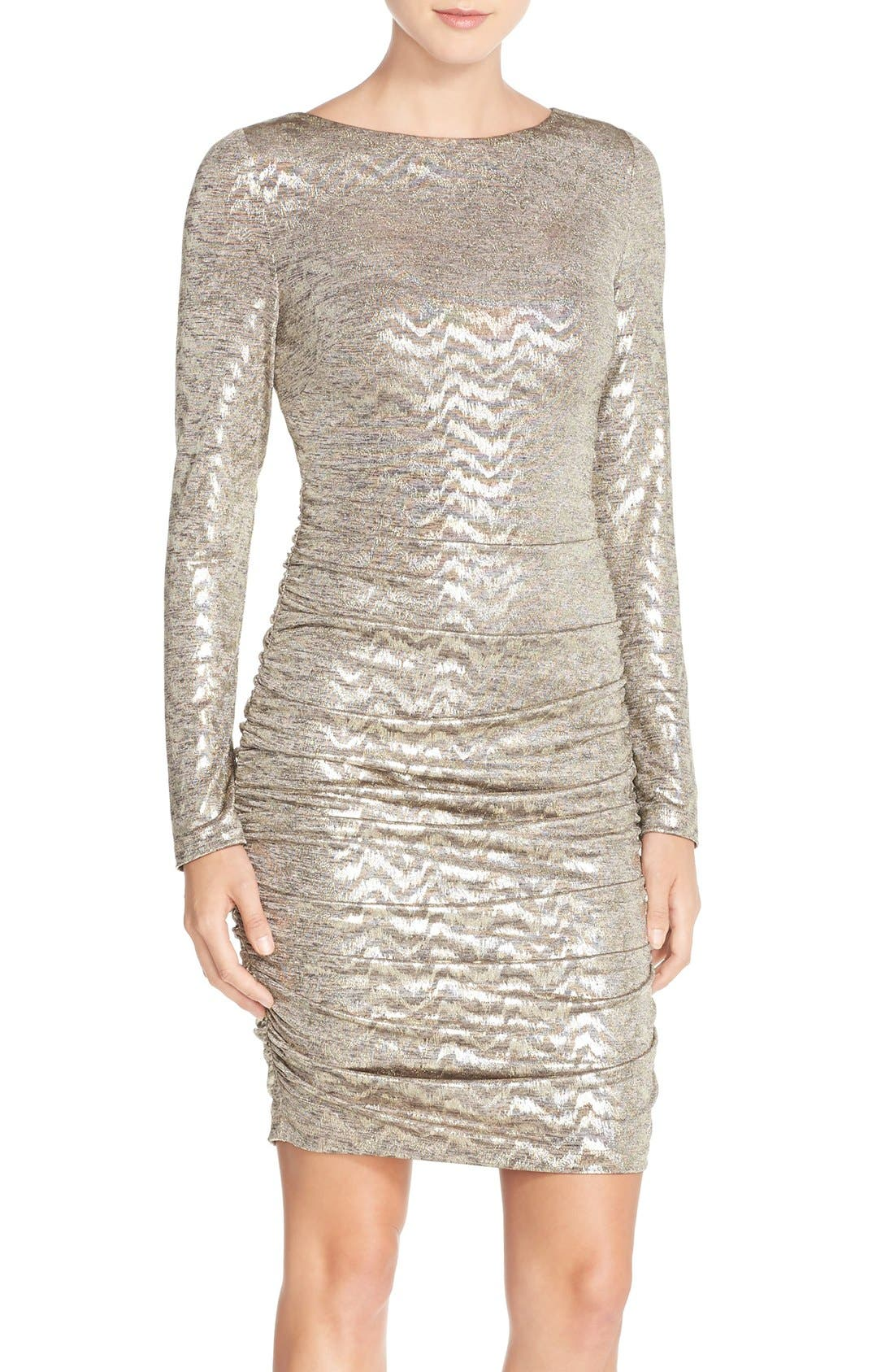 VINCE CAMUTO Metallic Jersey Body-Con Dress, Main, color, 710
