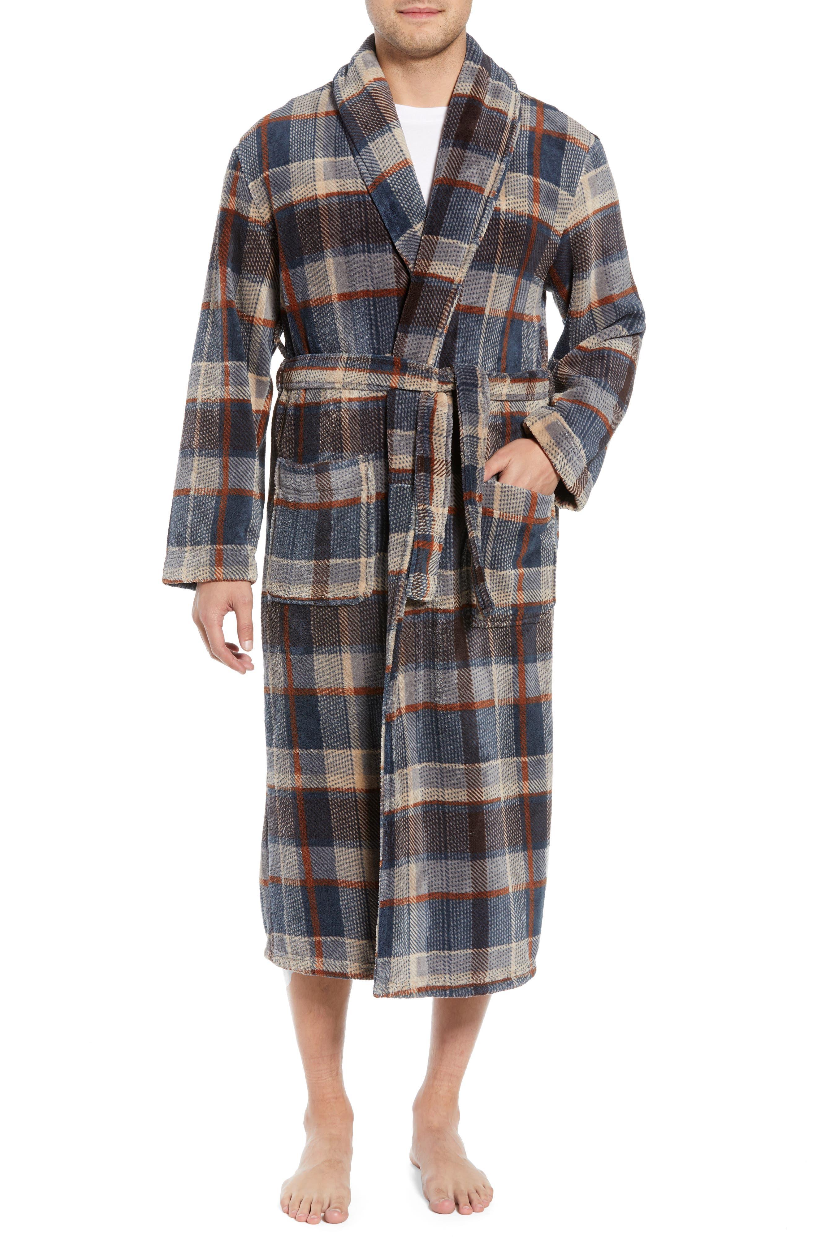 MAJESTIC INTERNATIONAL, Mountains of Comfort Shawl Fleece Bath Robe, Main thumbnail 1, color, COFFEE