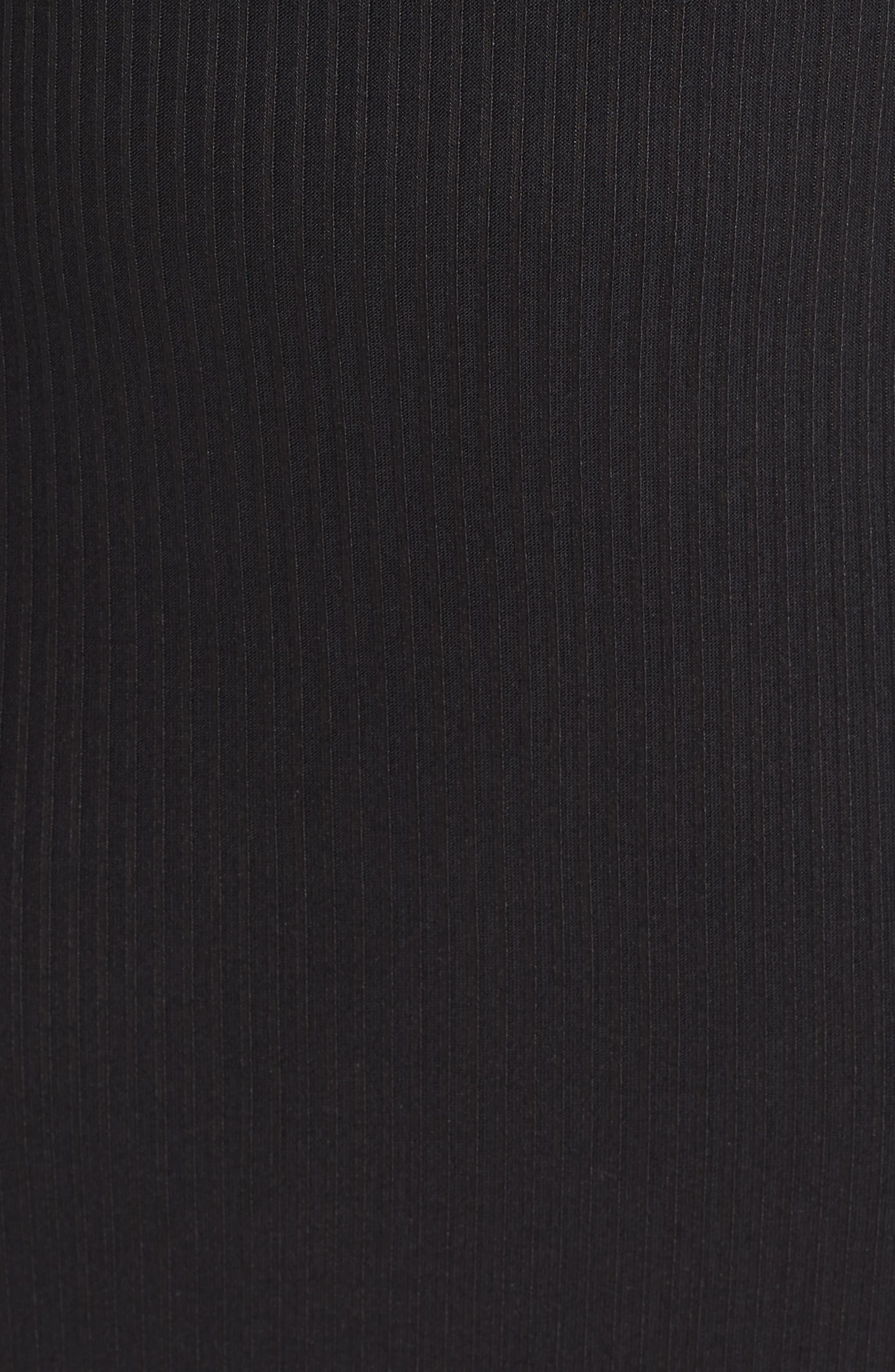 MICHAEL MICHAEL KORS, Chain Lace-Up V-Neck Sweater Dress, Alternate thumbnail 6, color, 001
