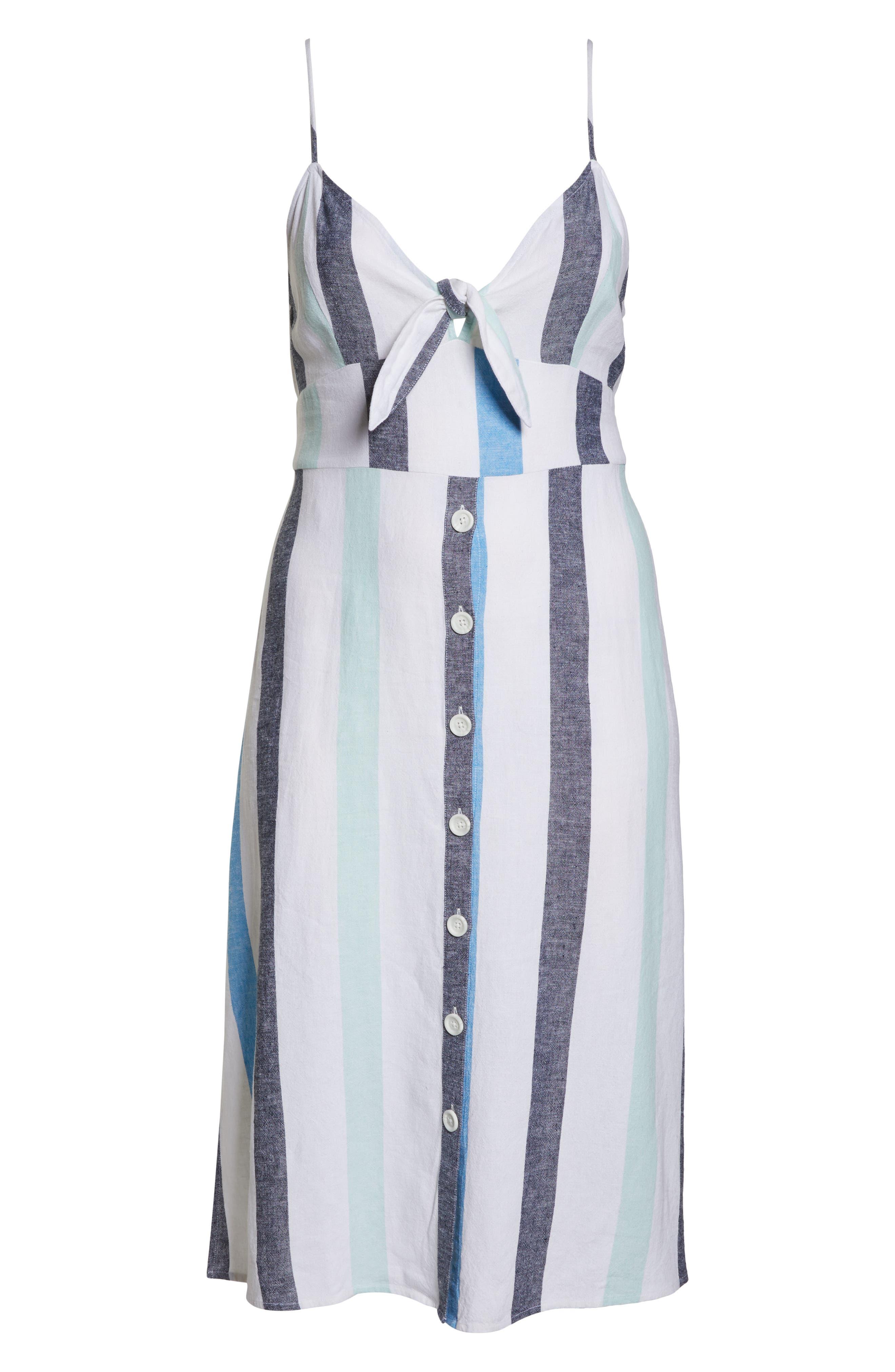 BP., Stripe Sundress, Alternate thumbnail 13, color, BLUE PLACID LACY STRIPE