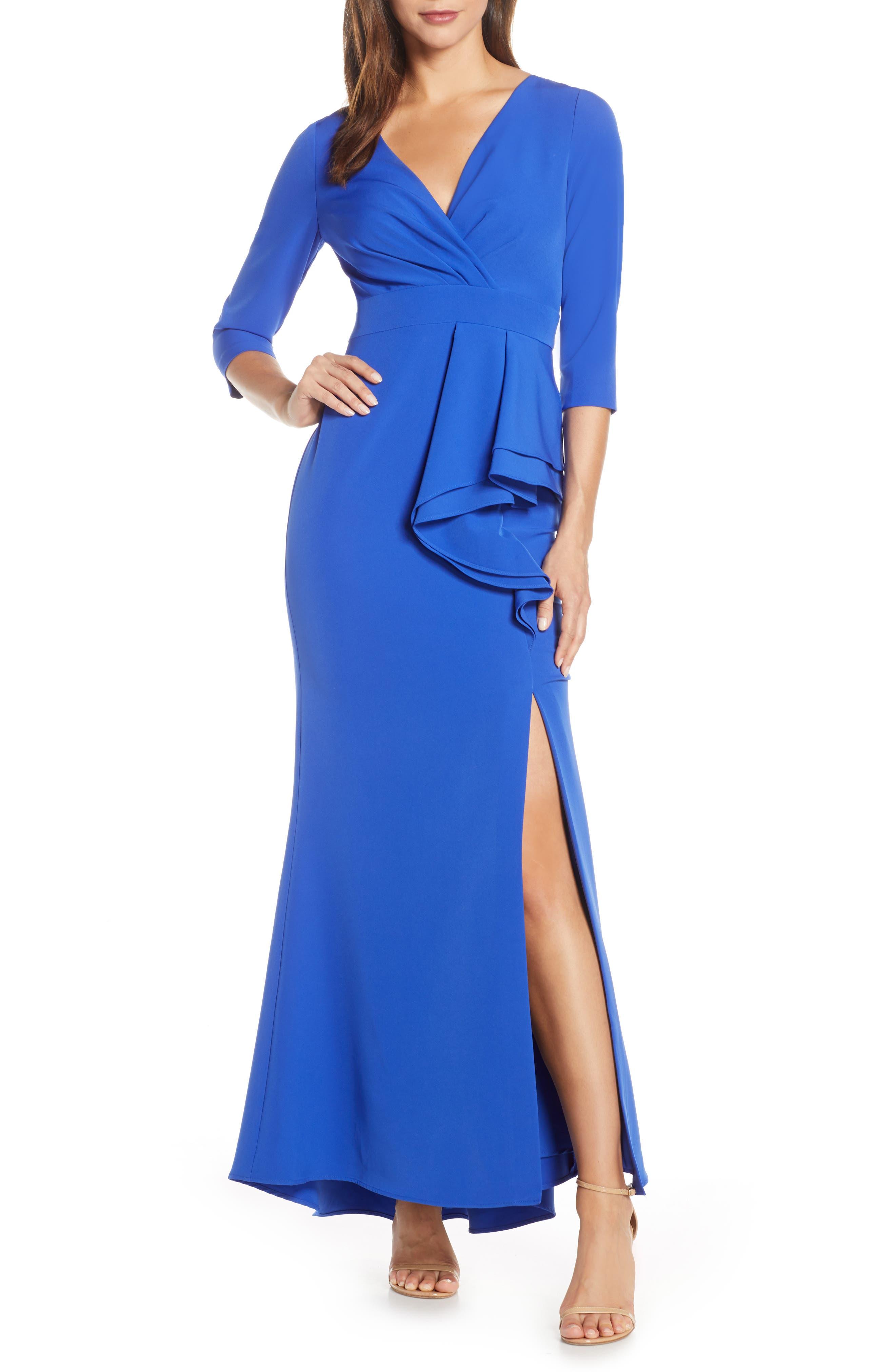 Petite Eliza J Side Ruffle Faux Wrap Gown, Blue
